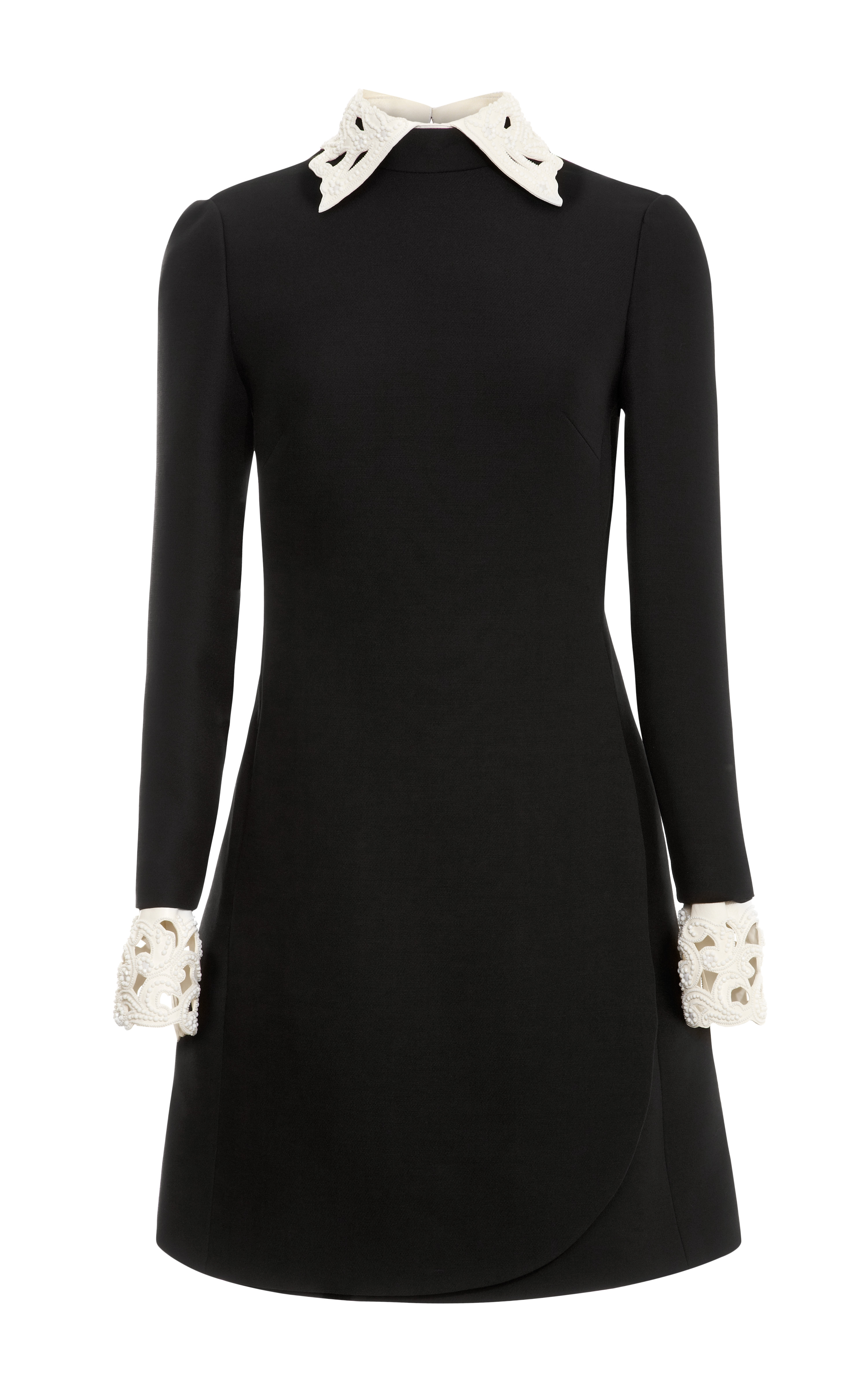 Lyst Valentino Wool Blend Dress With Embroidered Collar