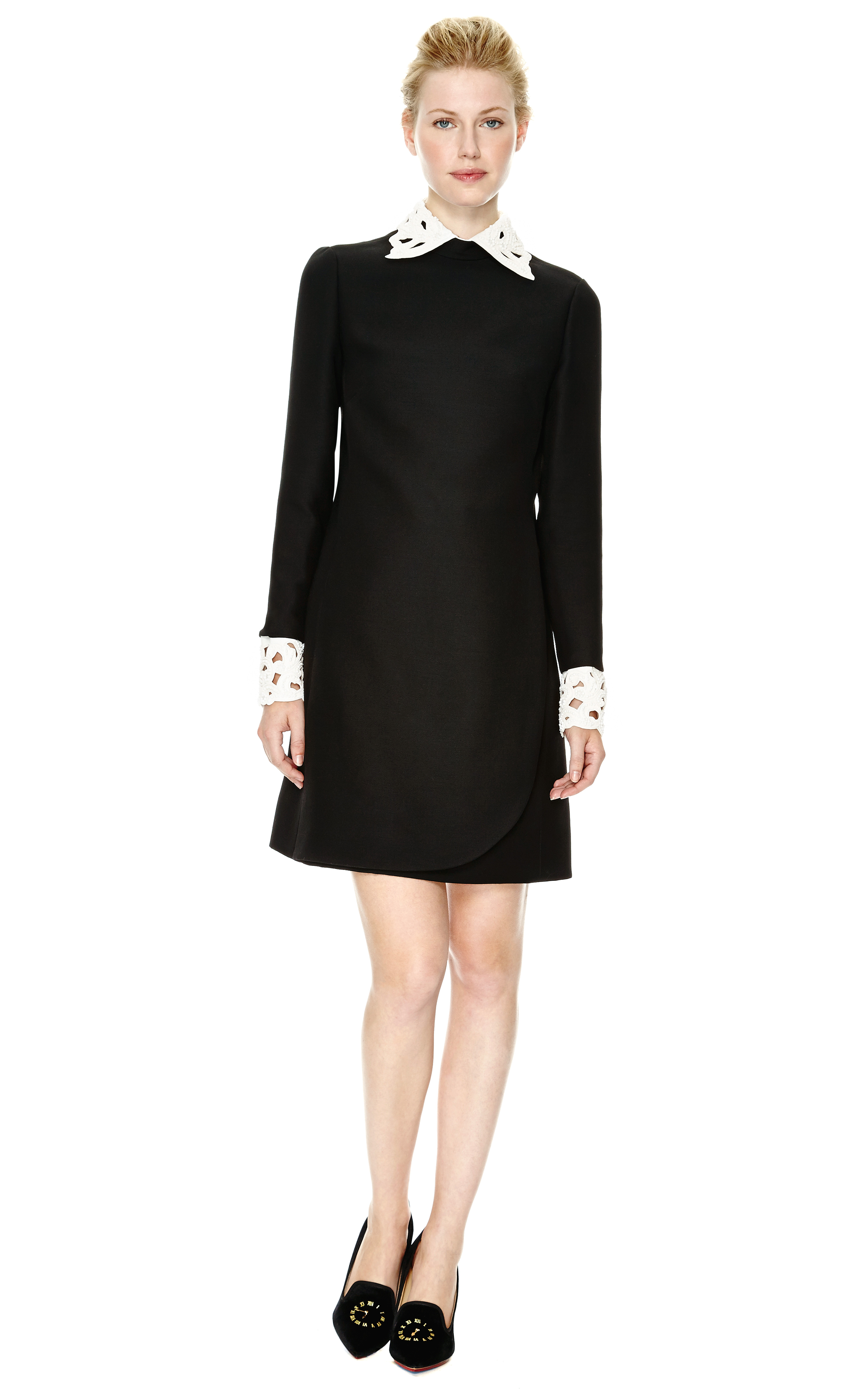 Valentino Wool Blend Dress With Embroidered Collar And