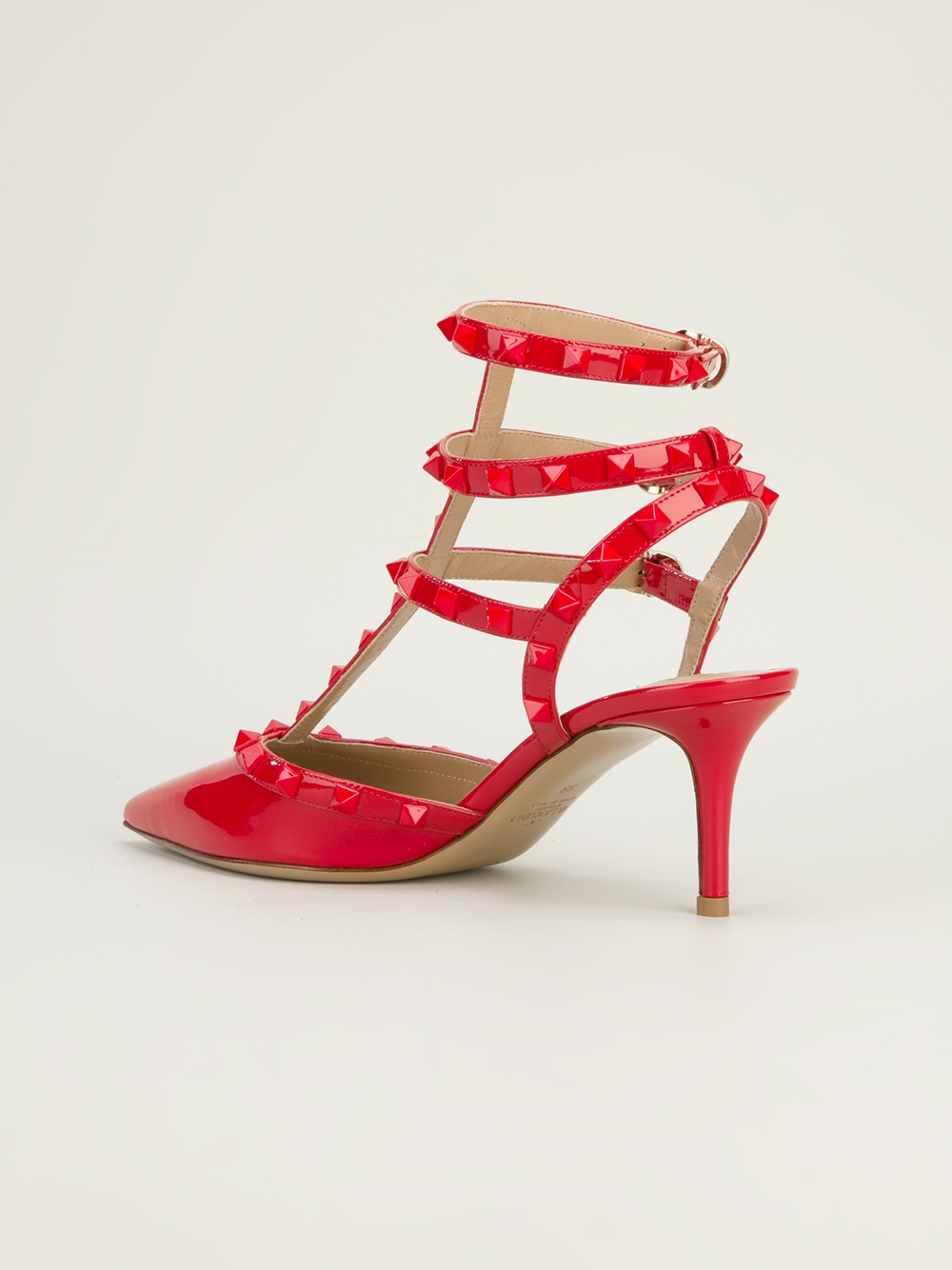 Valentino Studded Mid Heel Sandal In Red Lyst