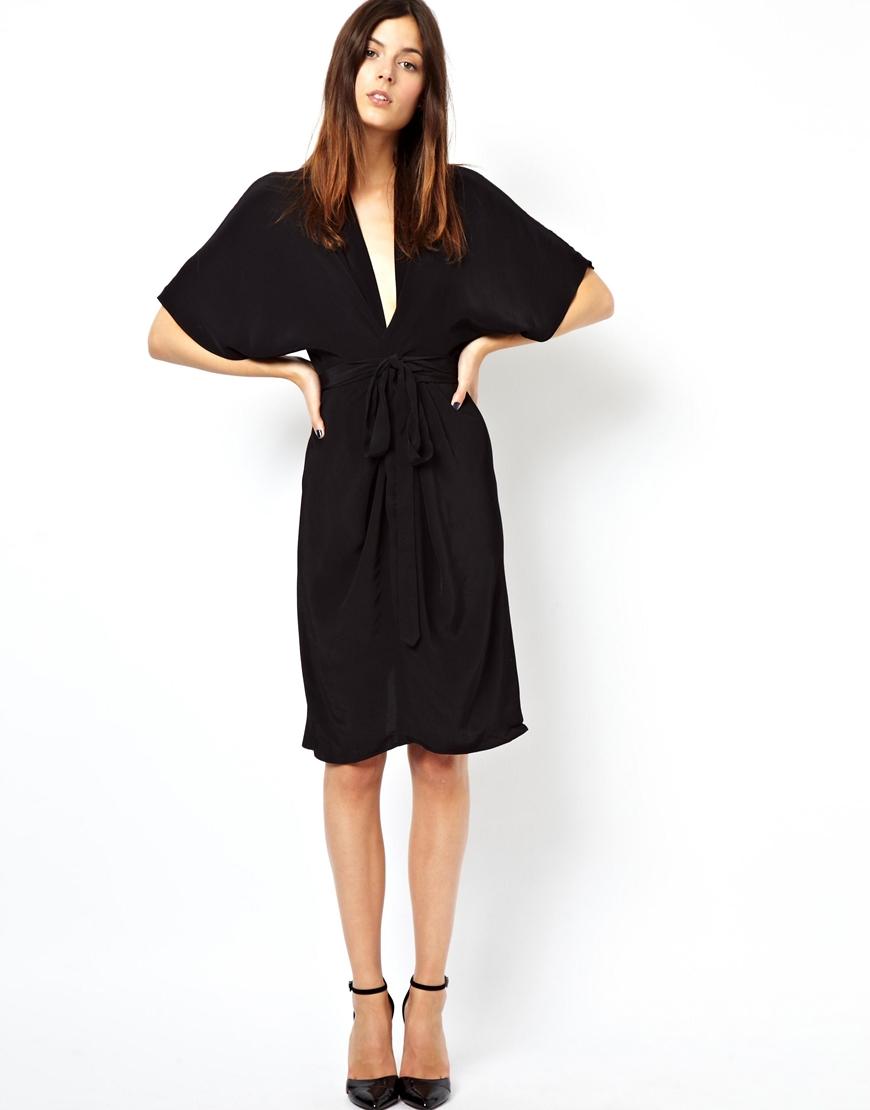 Lyst Asos Midi Dress With Kimono Sleeves In Black