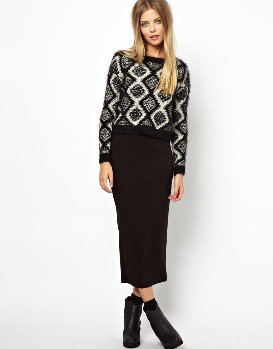 Asos Asos Midi Pencil Skirt in Jersey in Black | Lyst