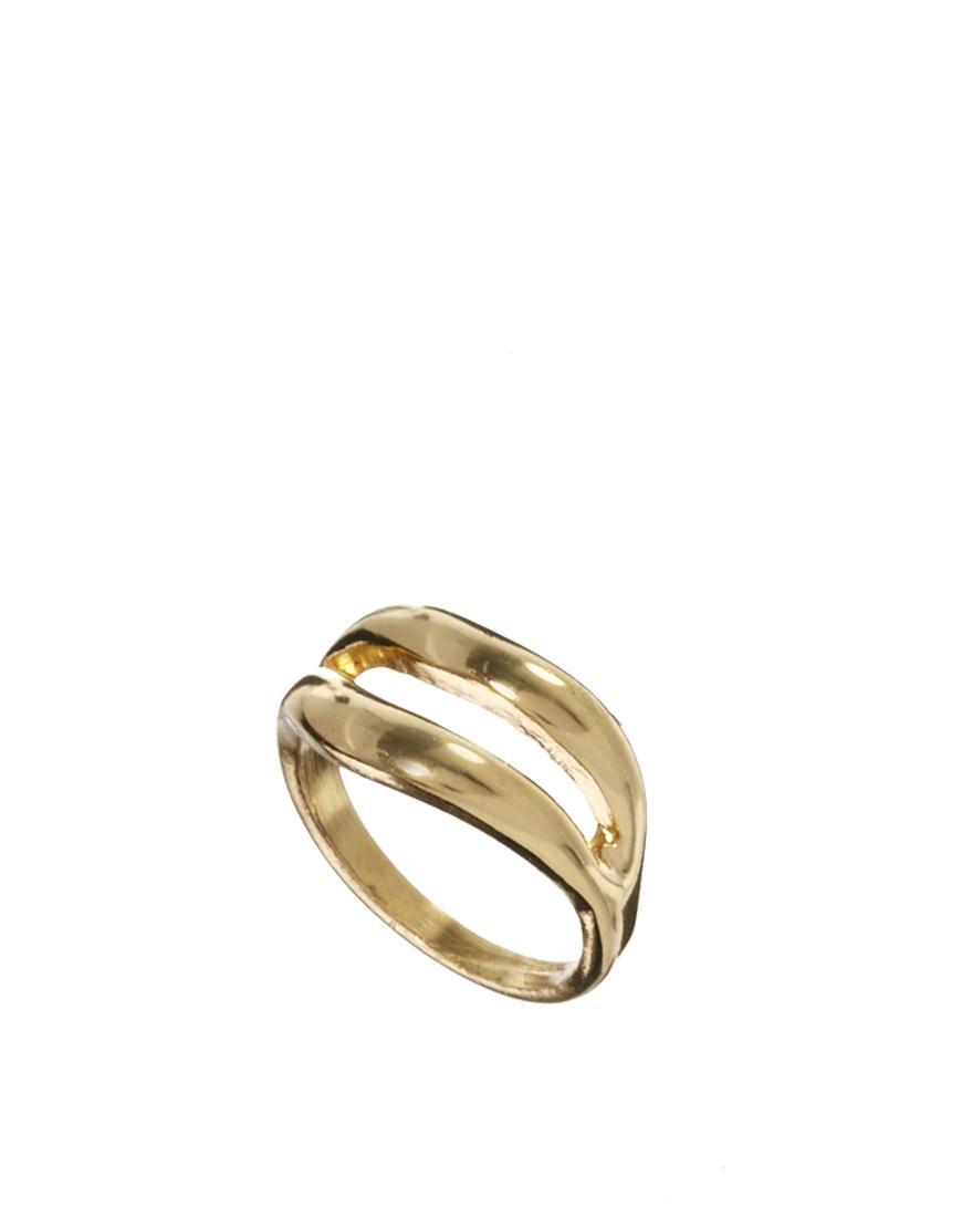 Asos Asos Double Bar Pinky Ring in Gold