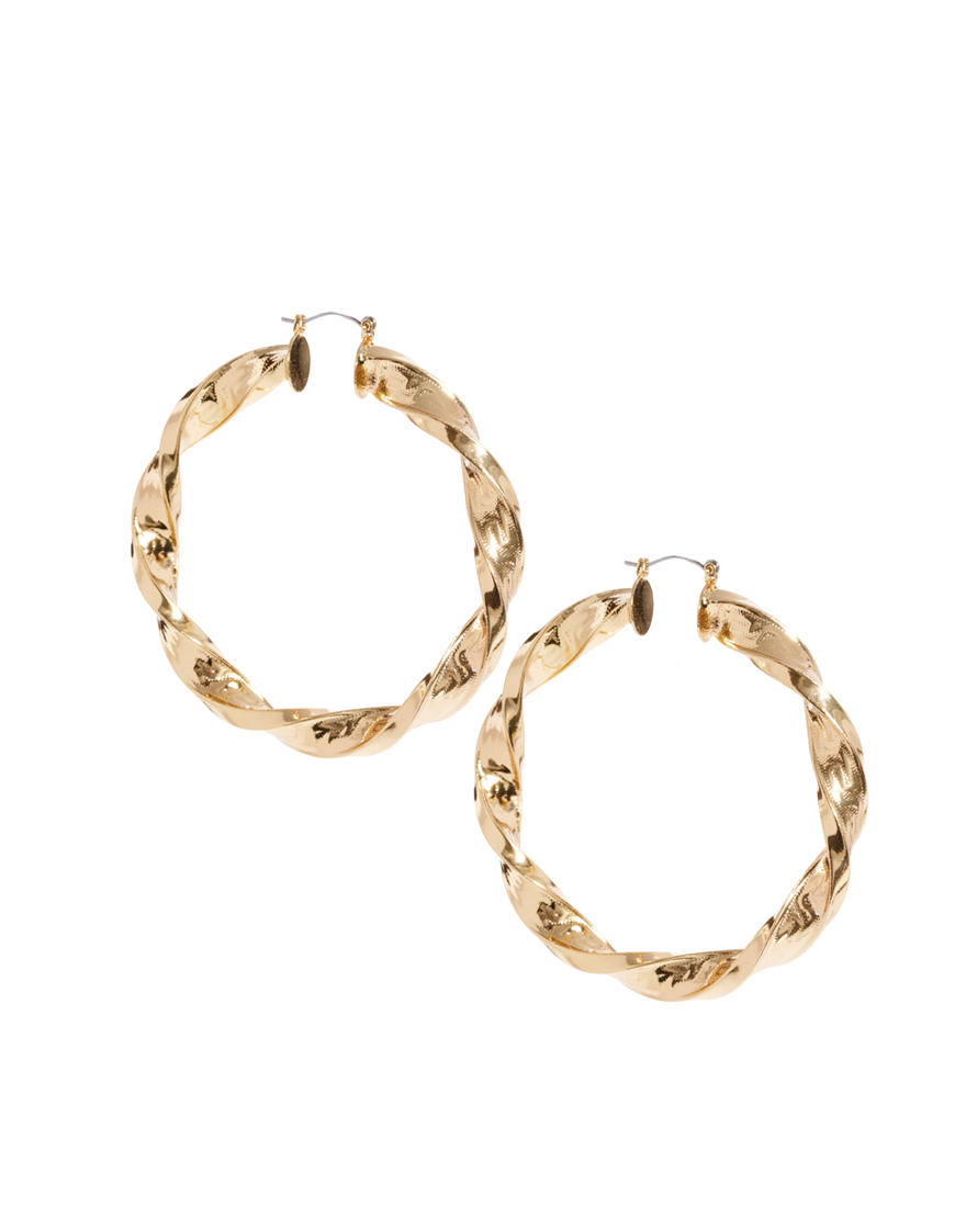asos large twisted hoop earring in gold lyst