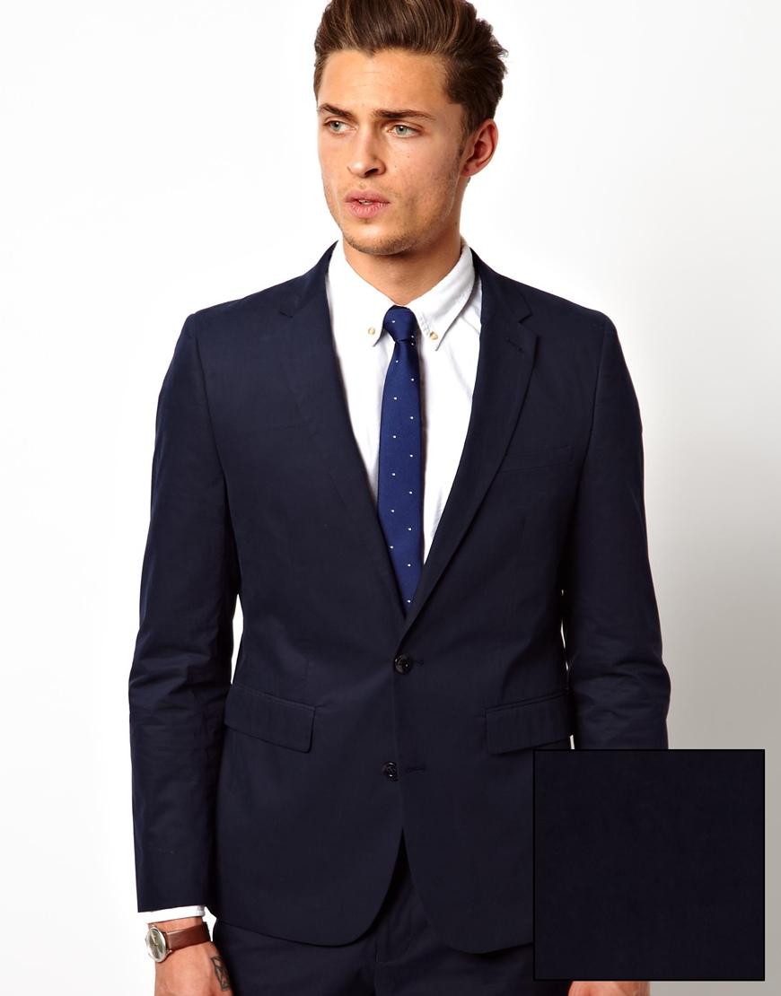 Deus ex machina Asos Slim Fit Suit Jacket in Poplin in Blue for