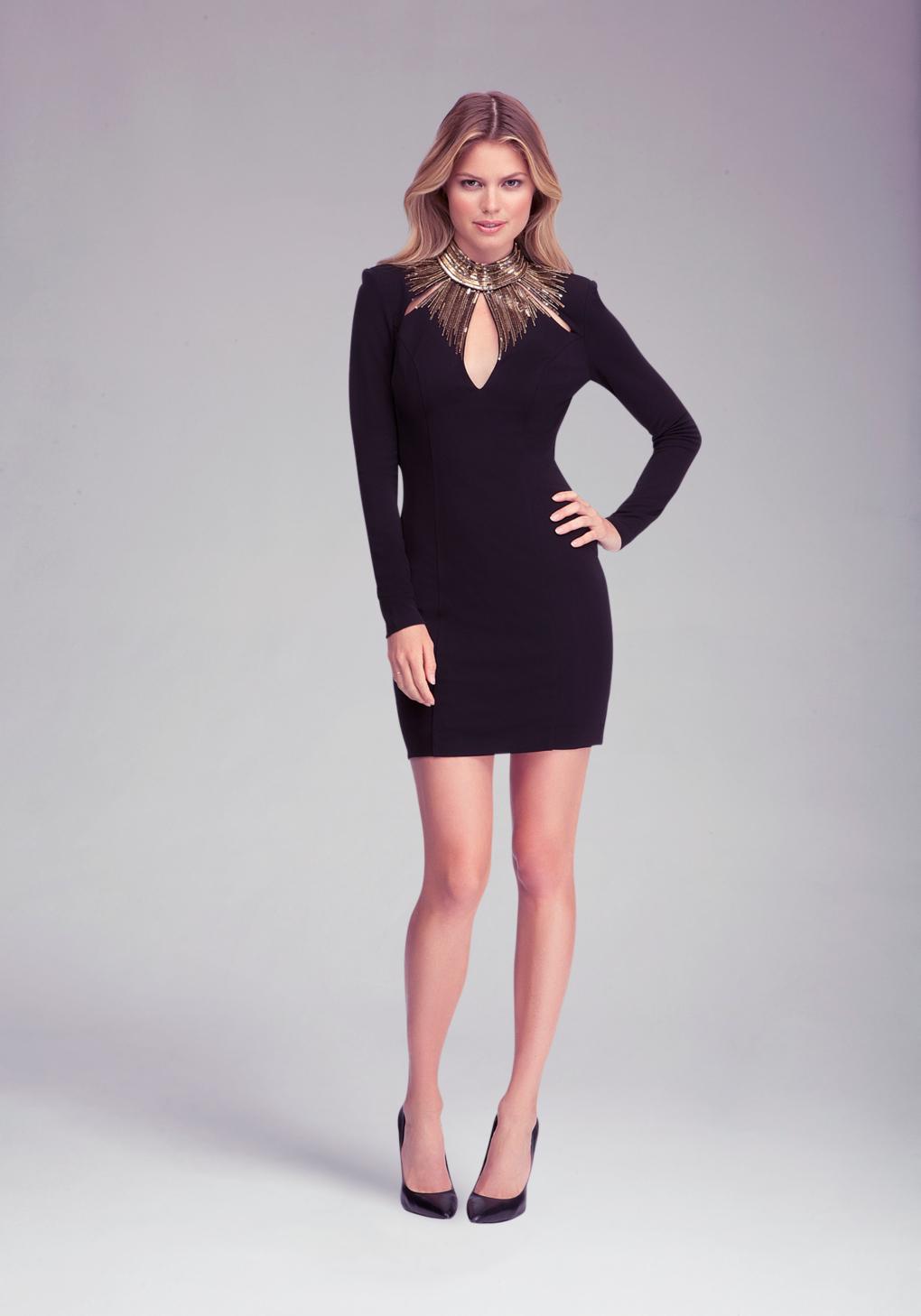 Bebe Embellished Neck Detail Dress In Black Gold Black