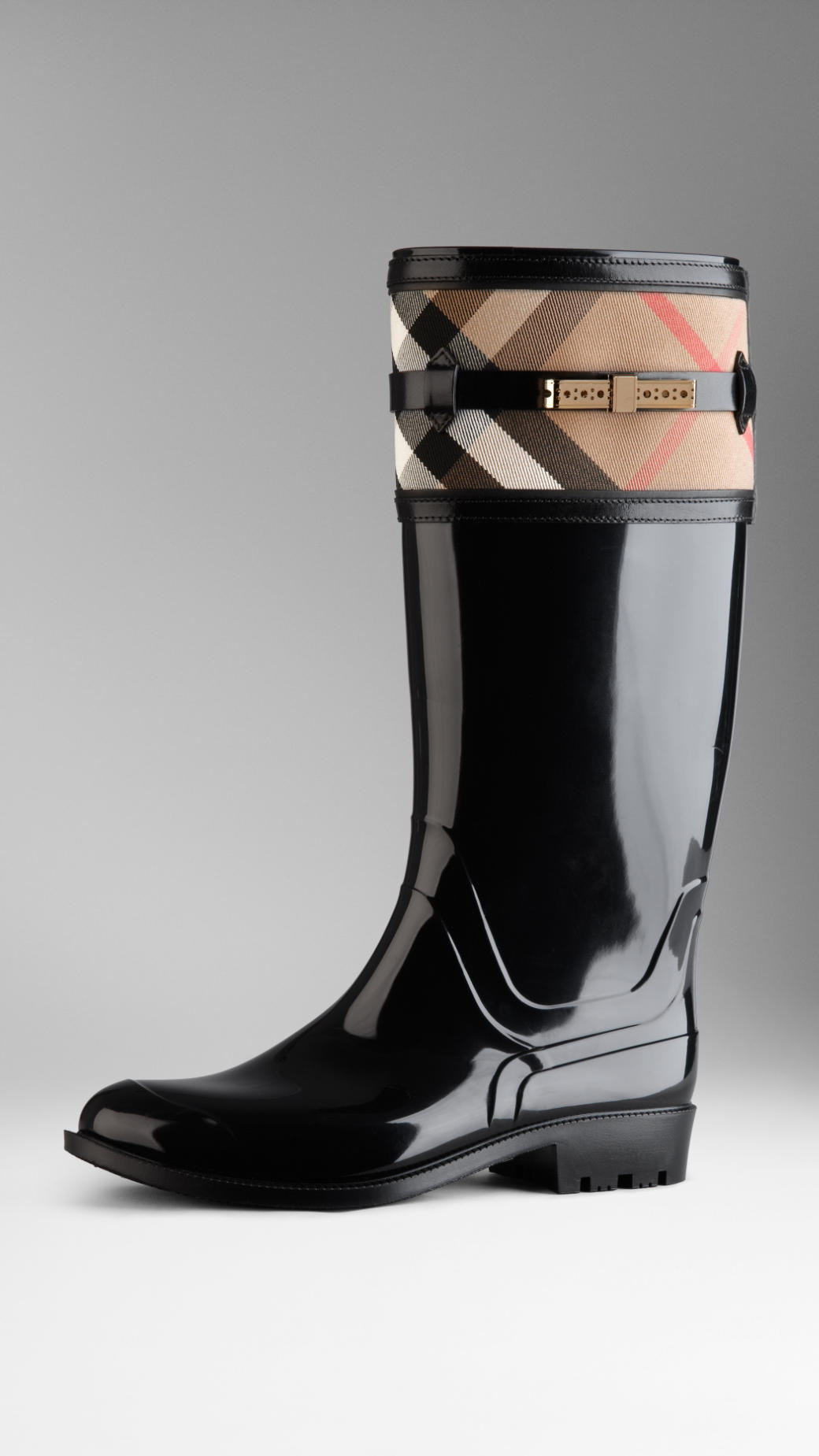 Lyst Burberry House Check Detail Rain Boots In Black