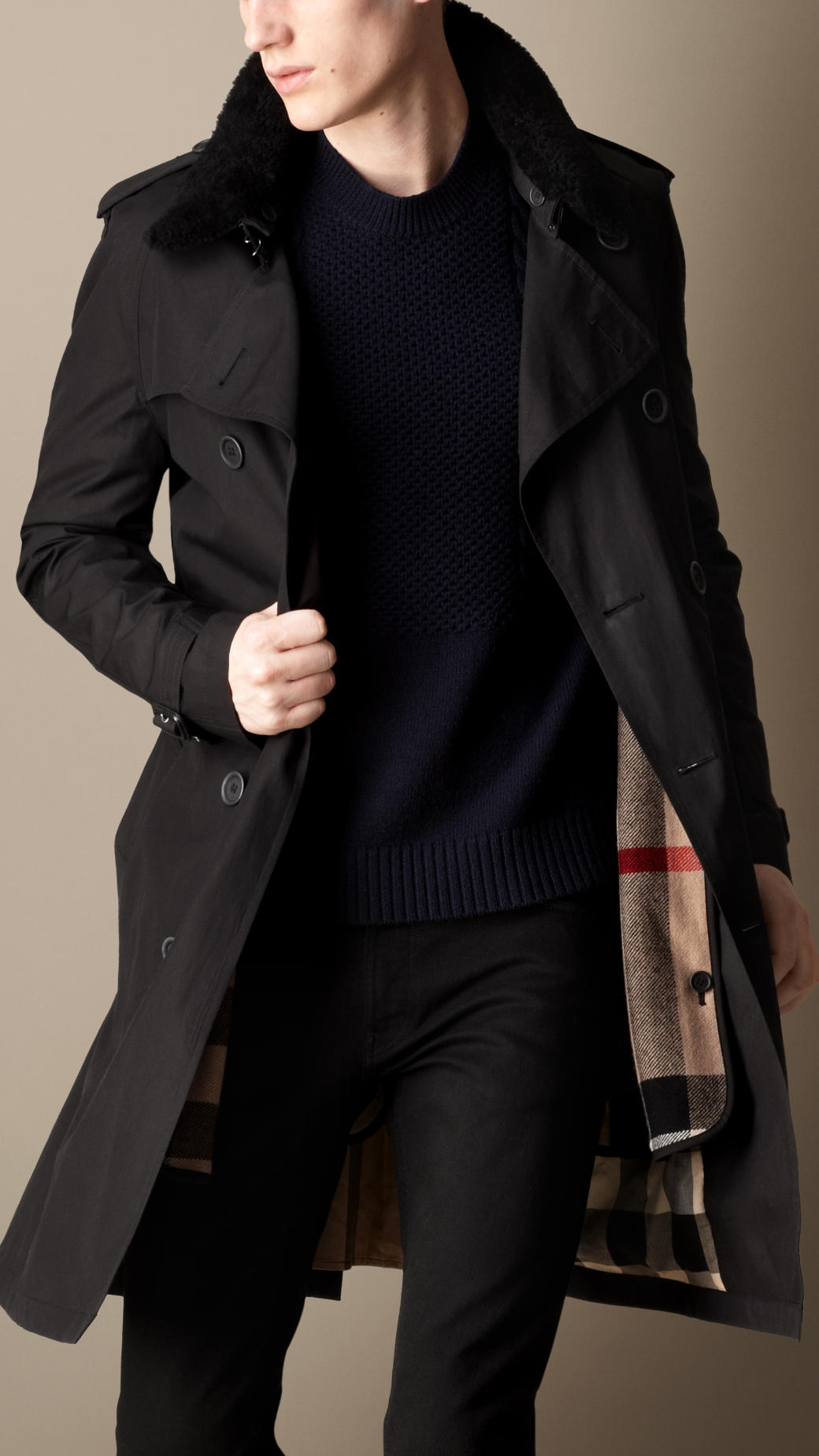 lyst burberry midlength shearling collar canvas trench coat in black for men. Black Bedroom Furniture Sets. Home Design Ideas