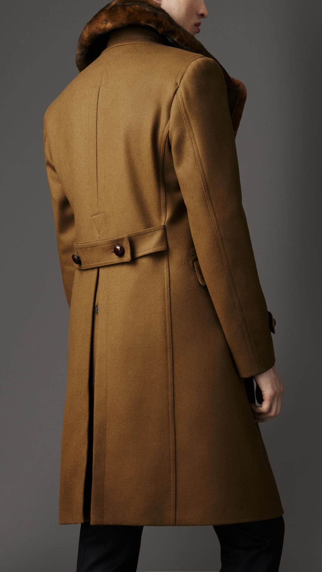 Burberry Rabbit-Fur and Wool Military Coat in Brown for Men | Lyst
