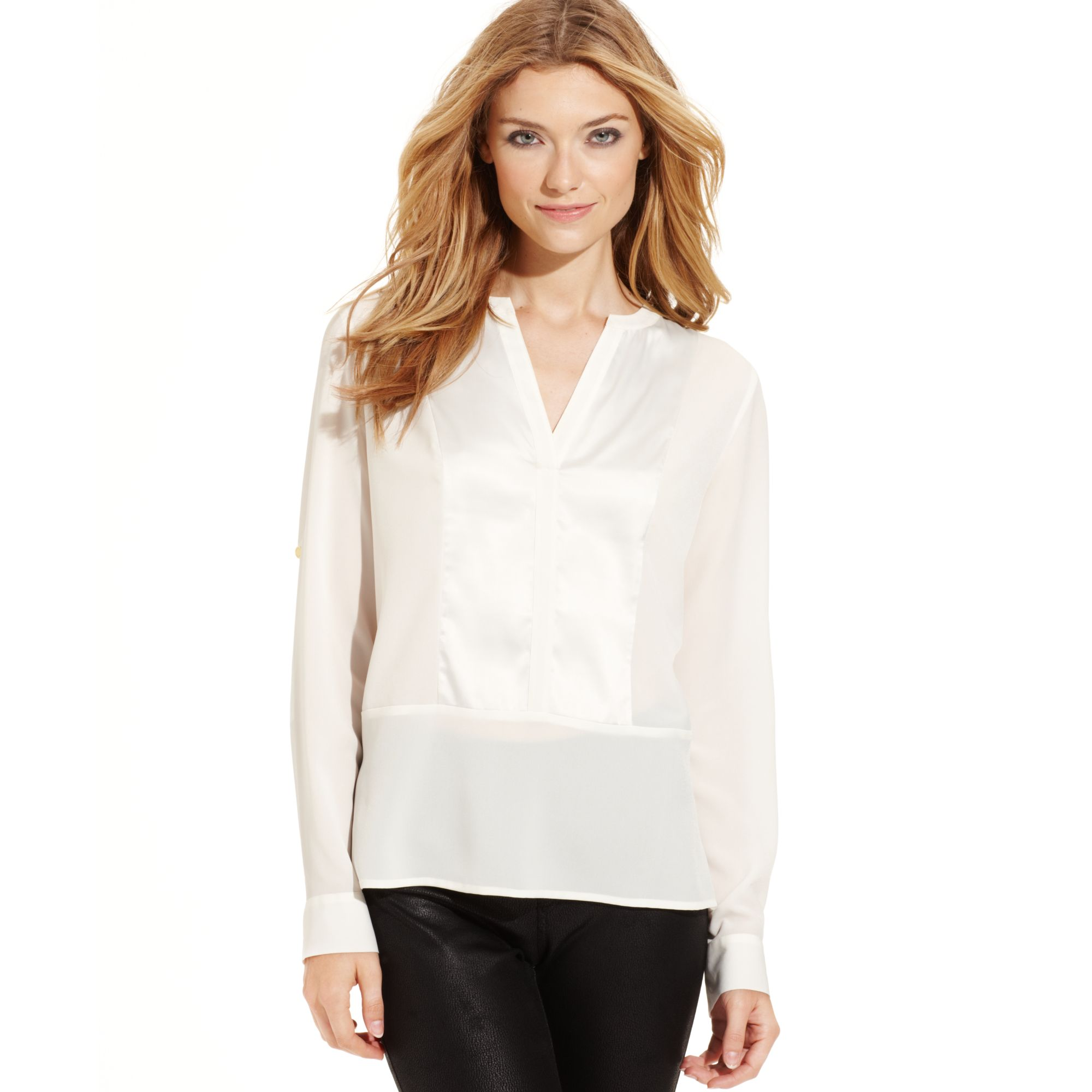White Satin Blouse Long Sleeve 102