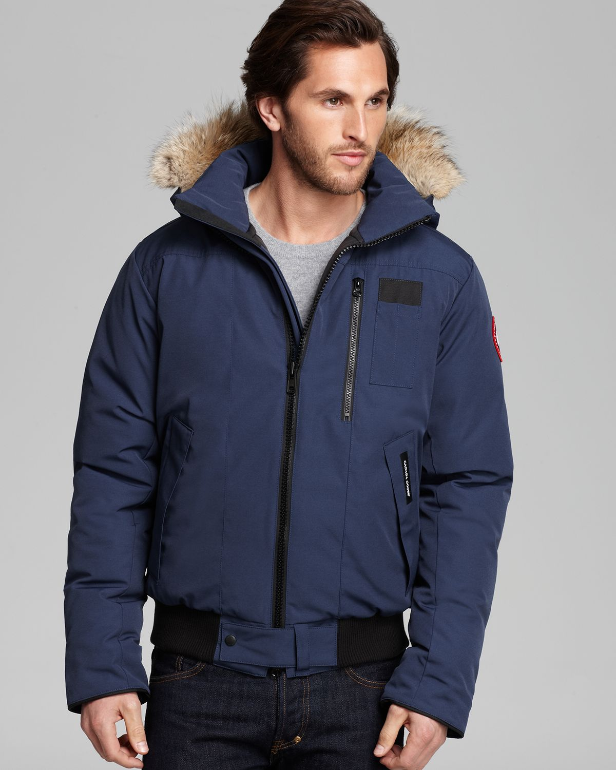 ... Canada goose Borden Bomber Parka with Fur Hood in Blue for M