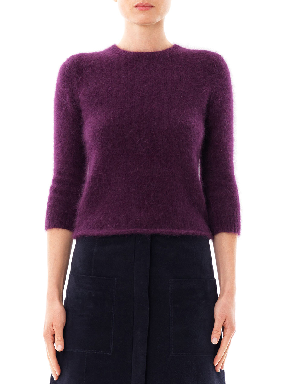 Carven Angora Zip Back Sweater in Purple
