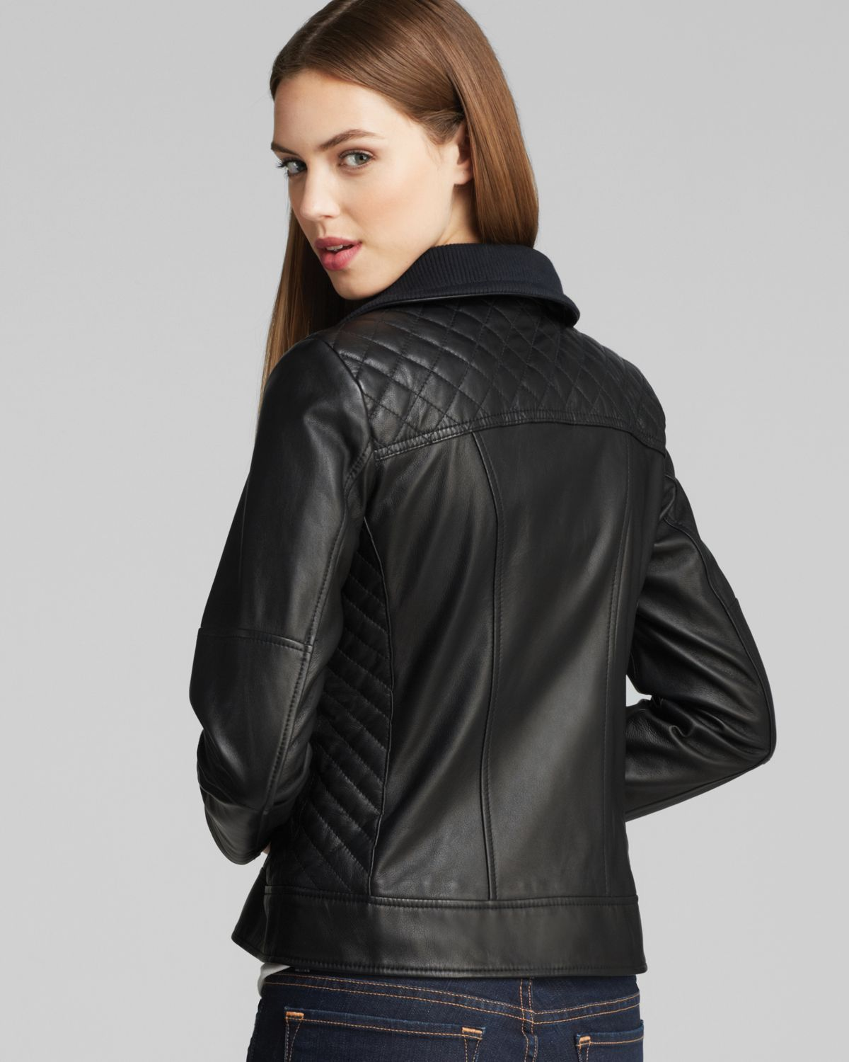 Lyst Cole Haan Leather Jacket With Diamond Quilting In Black