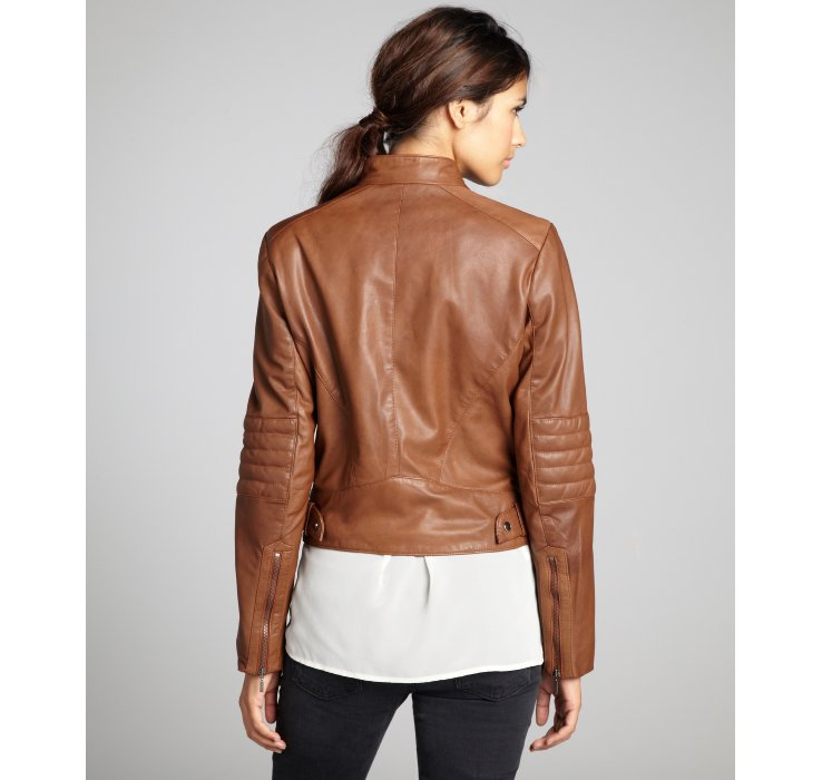 Cole Haan Saddle Leather Stitch Detailed Zip Moto Jacket In Brown Lyst