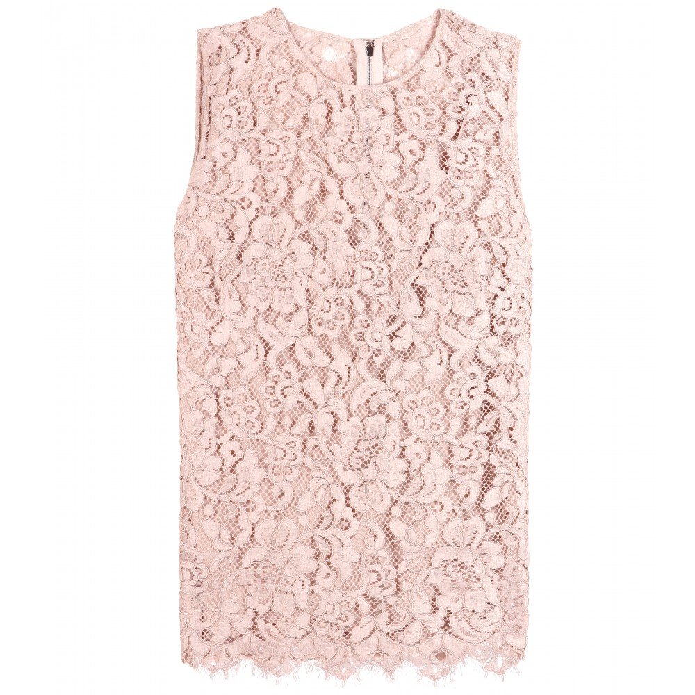 Dolce & Gabbana Lace Top in Pink (lilla polvere chiaro) | Lyst