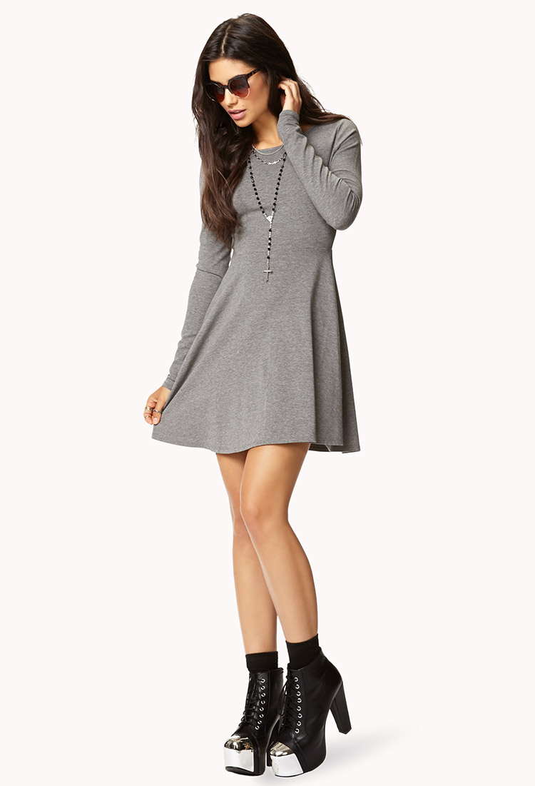 Forever 21 Casual Fit & Flare Dress in Gray | Lyst