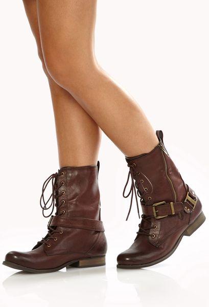 Forever 21 Runaround Combat Boots In Brown Wine Lyst