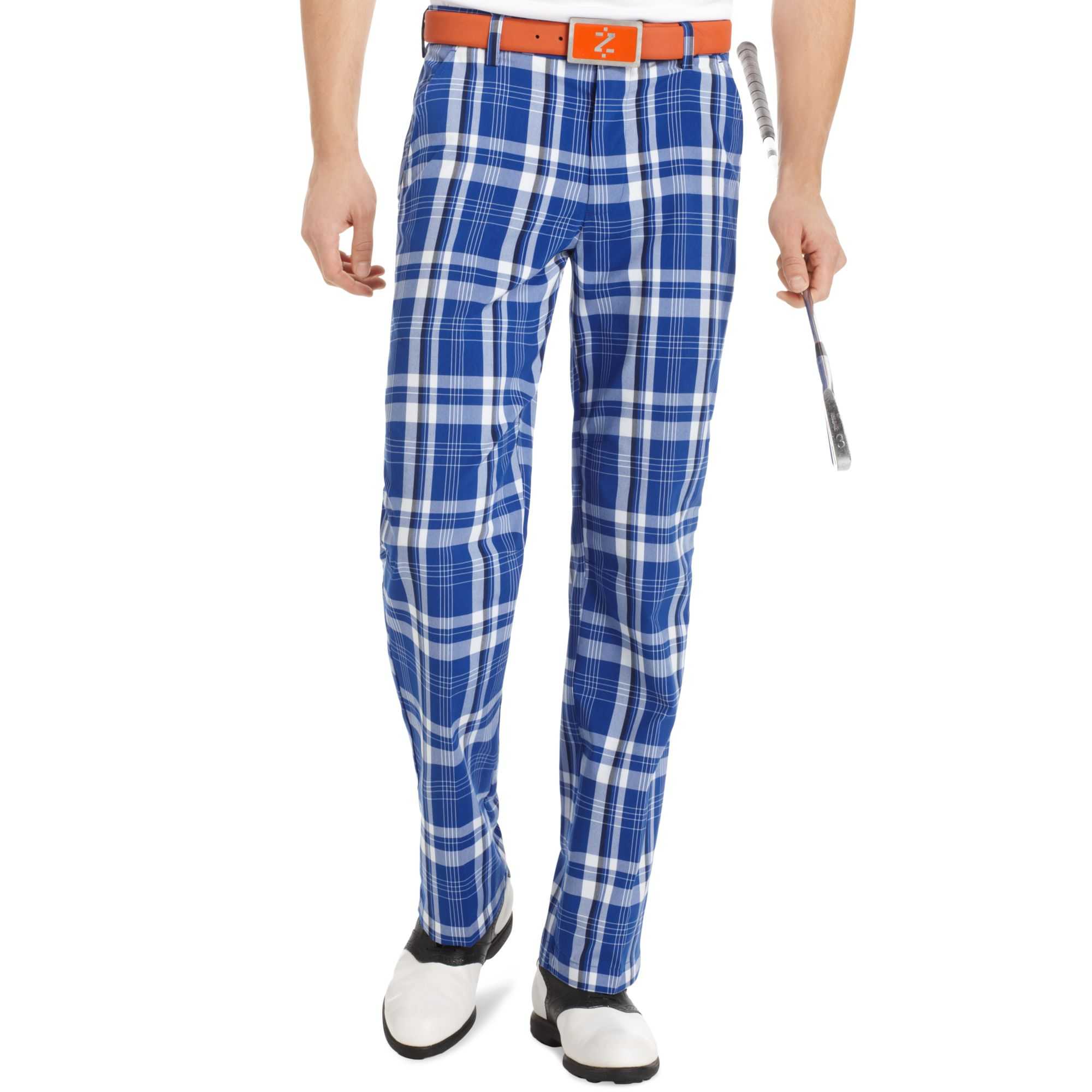 Izod Flat Front Plaid Golf Pants in Blue for Men | Lyst