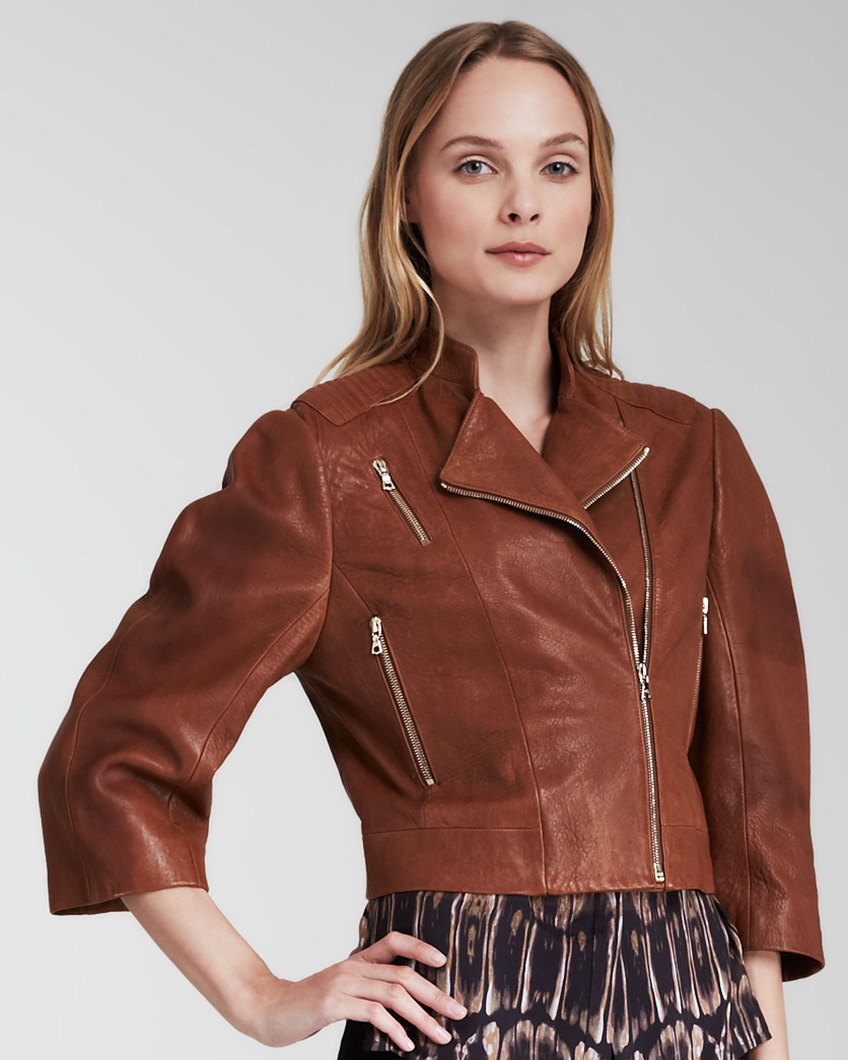 J brand Constance Cropped Leather Jacket in Brown | Lyst