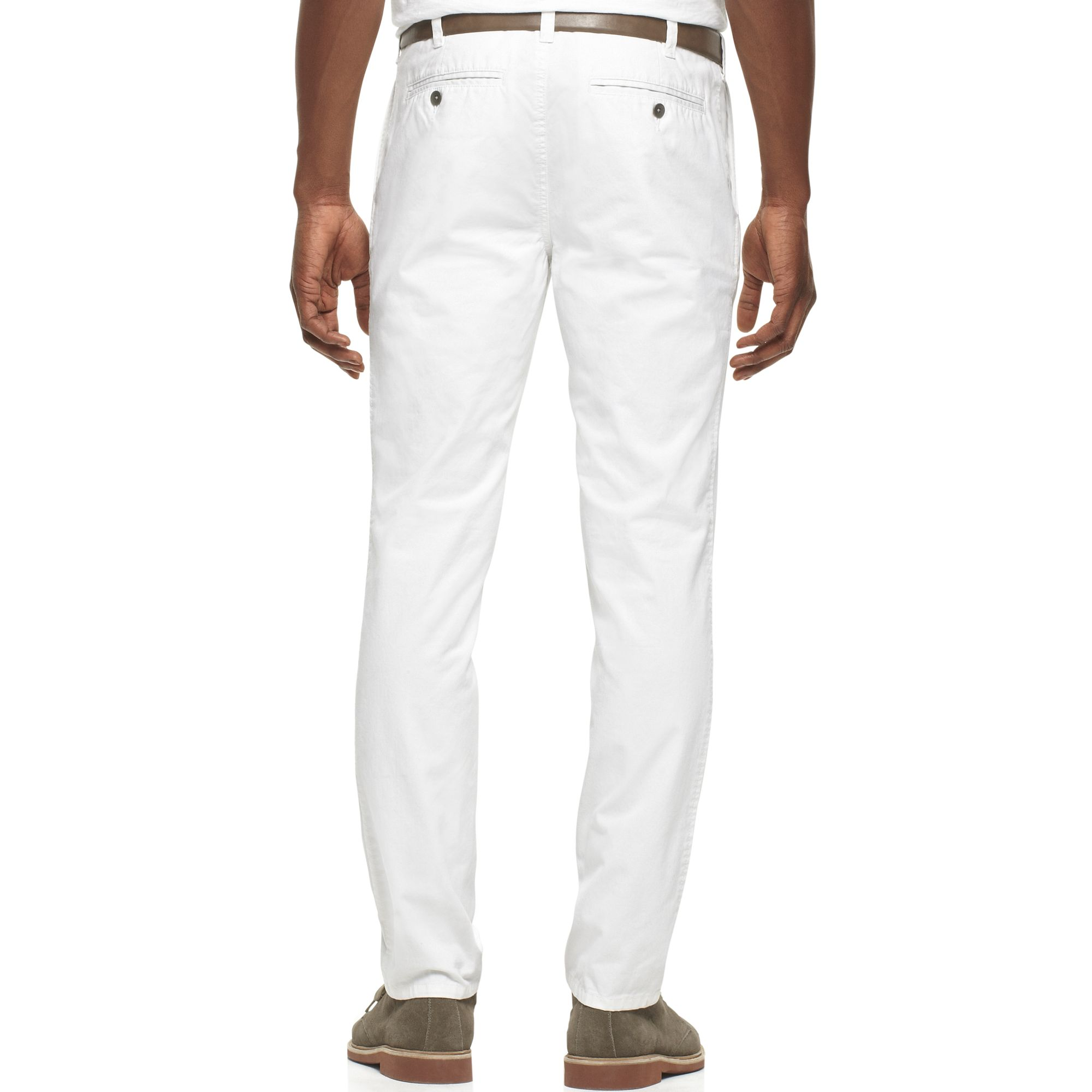 kenneth cole reaction slim fit chino pants in white for men lyst. Black Bedroom Furniture Sets. Home Design Ideas