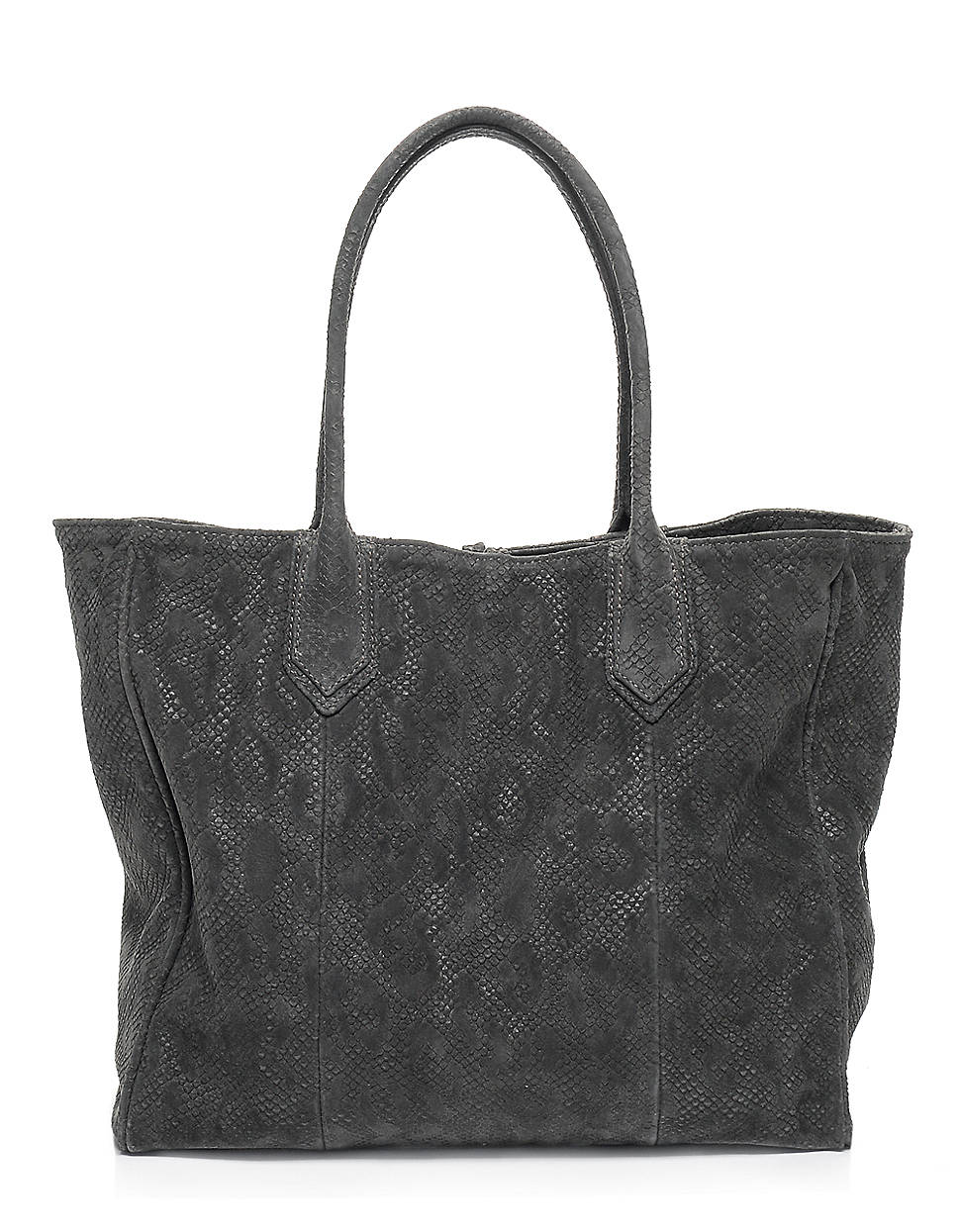 lauren merkin reese embossed calf suede tote bag in gray. Black Bedroom Furniture Sets. Home Design Ideas