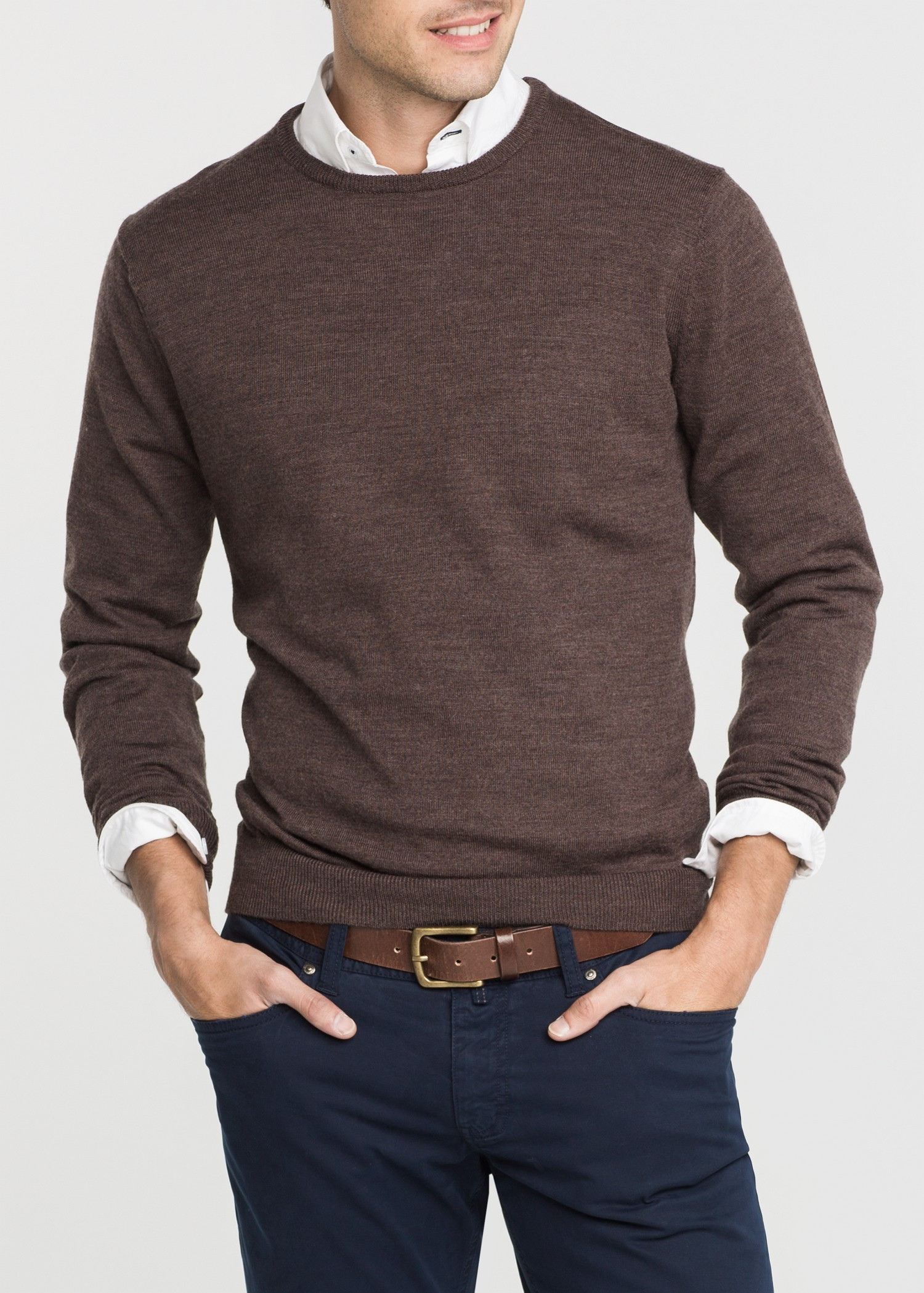 Mango Elbow Patch Wool Sweater in Brown for Men | Lyst