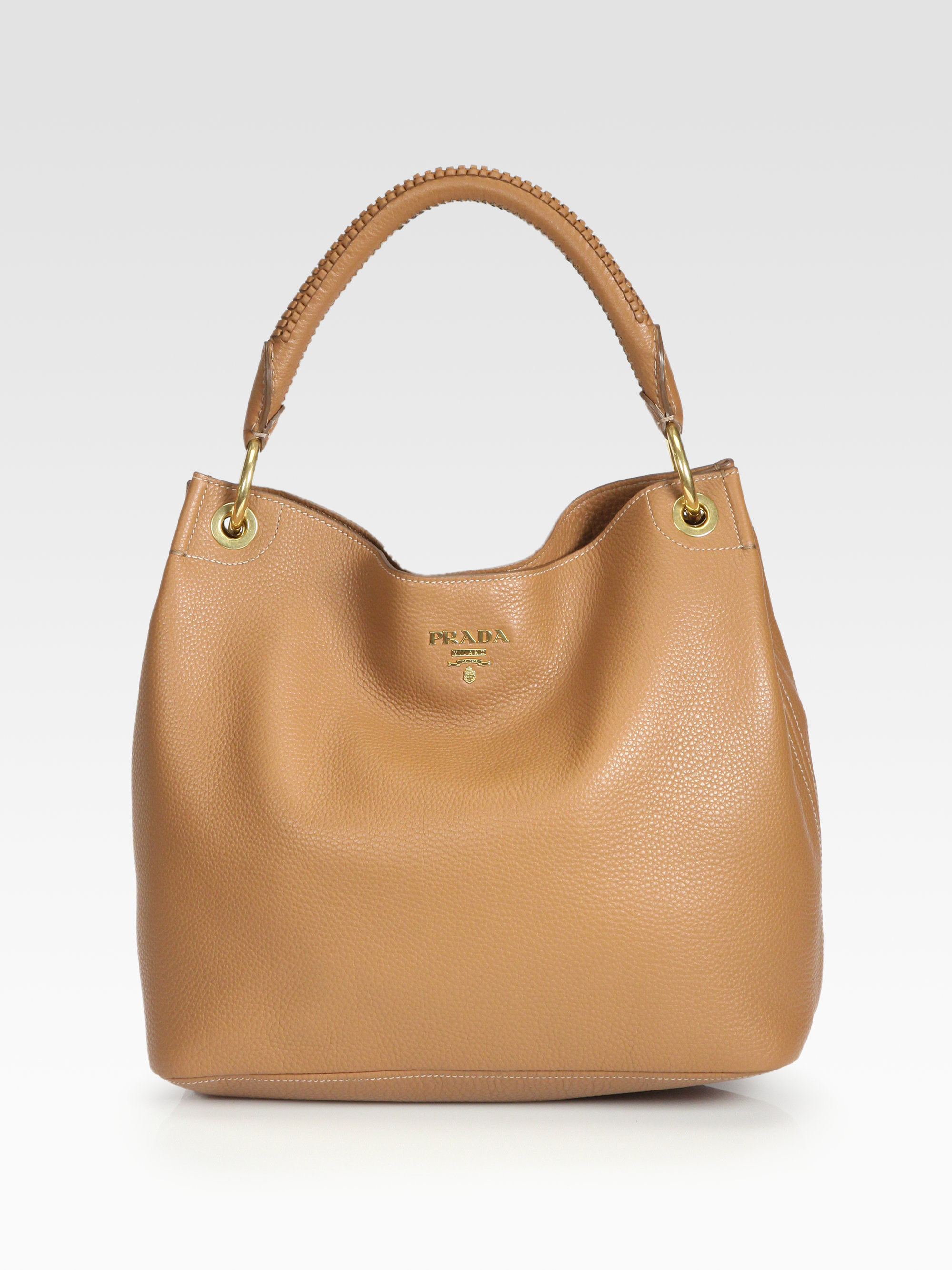 Lyst Prada Vitello Daino Hobo Bag In Brown