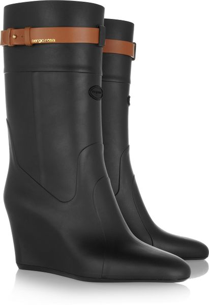 sergio rubber wedge boots in black lyst