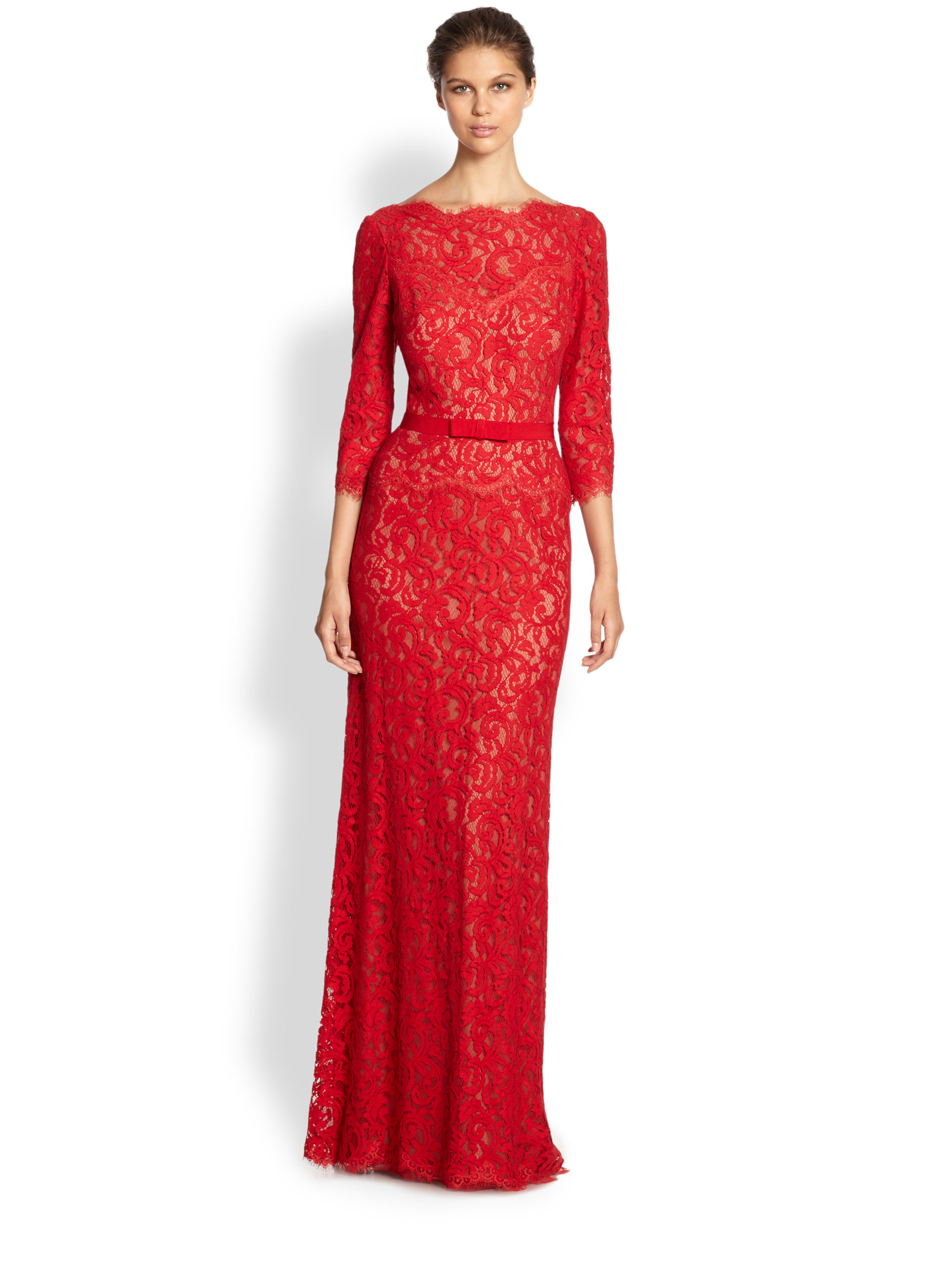 Lyst - Tadashi Shoji Illusion Lace Gown in Red
