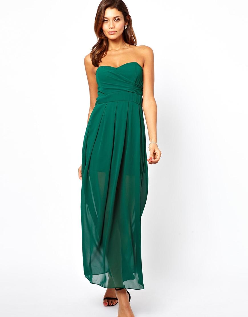 Lyst Tfnc London Tfnc Maxi Dress With Thigh Split In Green
