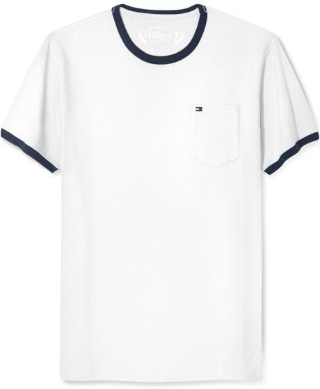 tommy hilfiger collegiate pocket t shirt in white for men. Black Bedroom Furniture Sets. Home Design Ideas