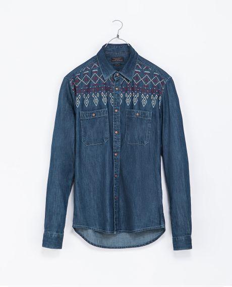 Zara embroidered denim shirt in blue for men lyst