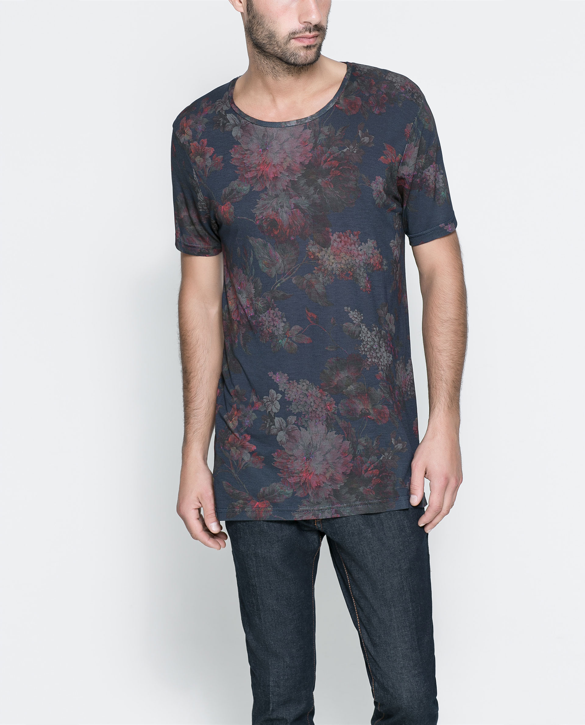 Zara short sleeve t shirt in pink for men lyst for Zara mens floral shirt