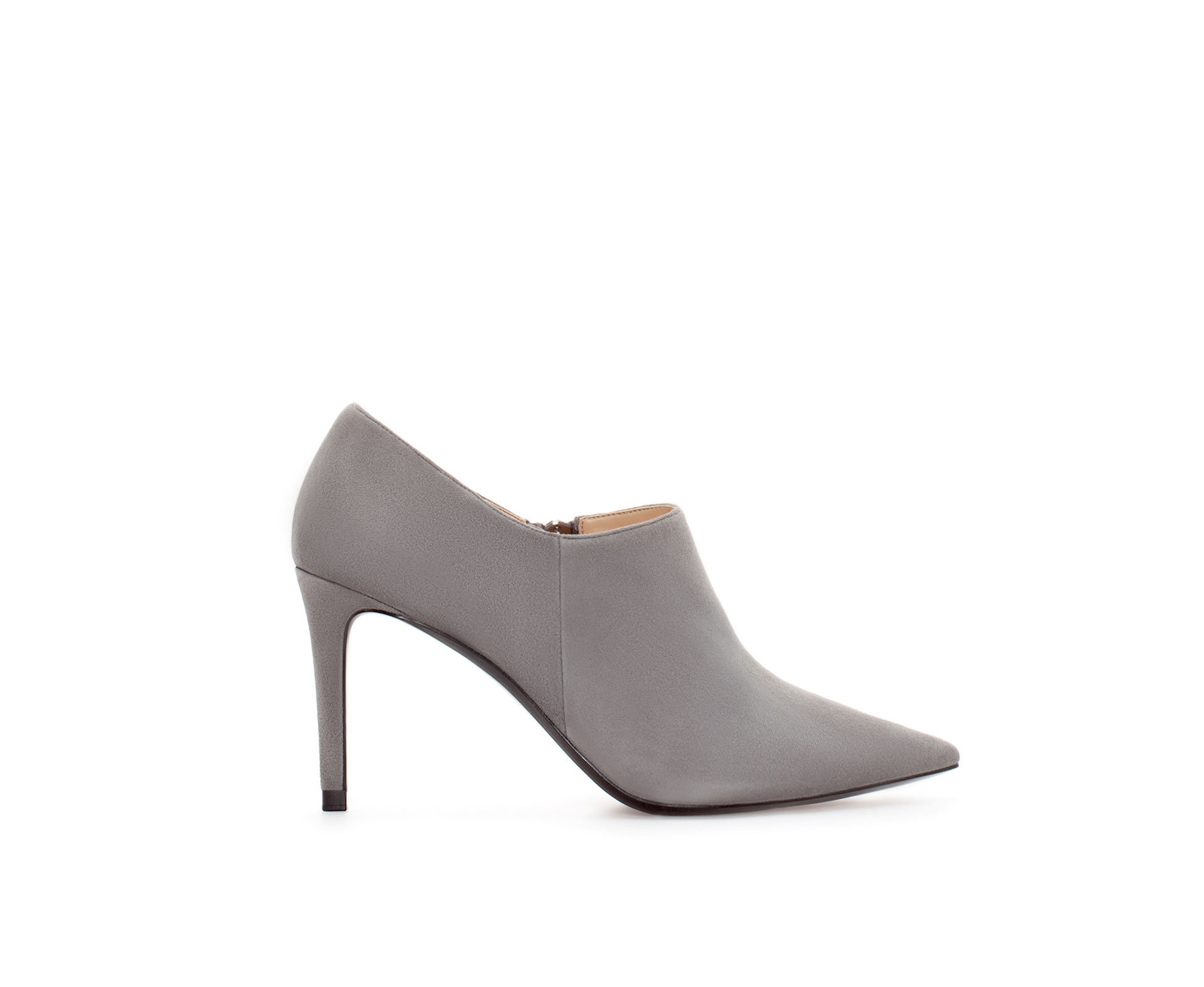 zara suede pointed ankle boot in gray lyst