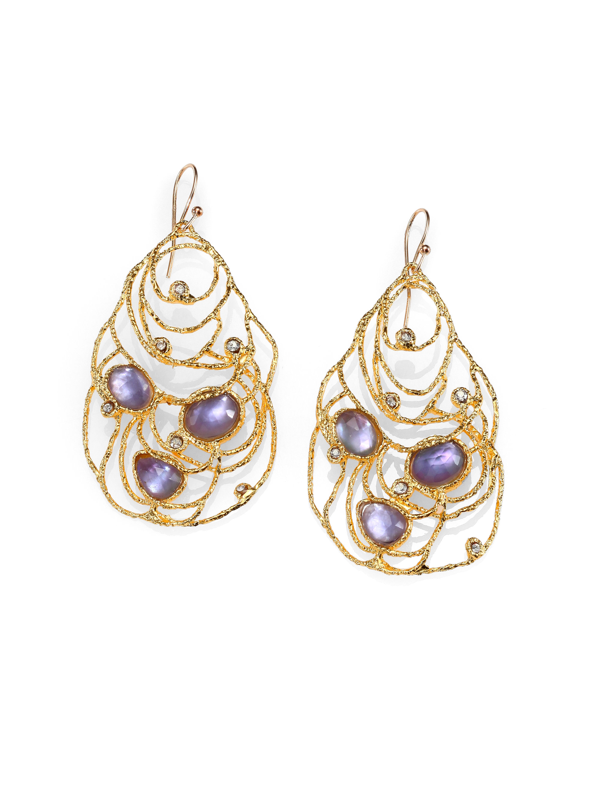 Alexis bittar iolite and mother of pearl lace earrings in for Ice fine jewelry bend oregon