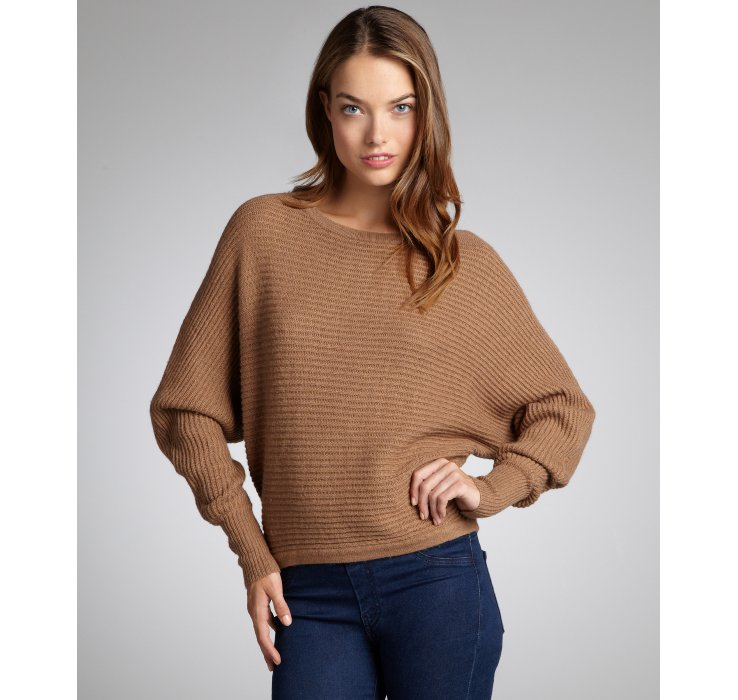 Knitting Pattern For Dolman Sleeve Sweater : Bcbgmaxazria Camel Ribbed Knit Dolman Sleeve Camille ...