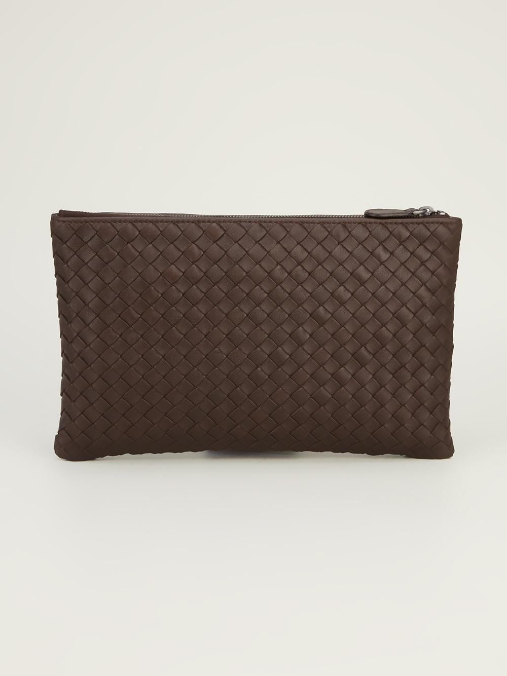 lyst bottega veneta bottega veneta clutch bag in brown. Black Bedroom Furniture Sets. Home Design Ideas