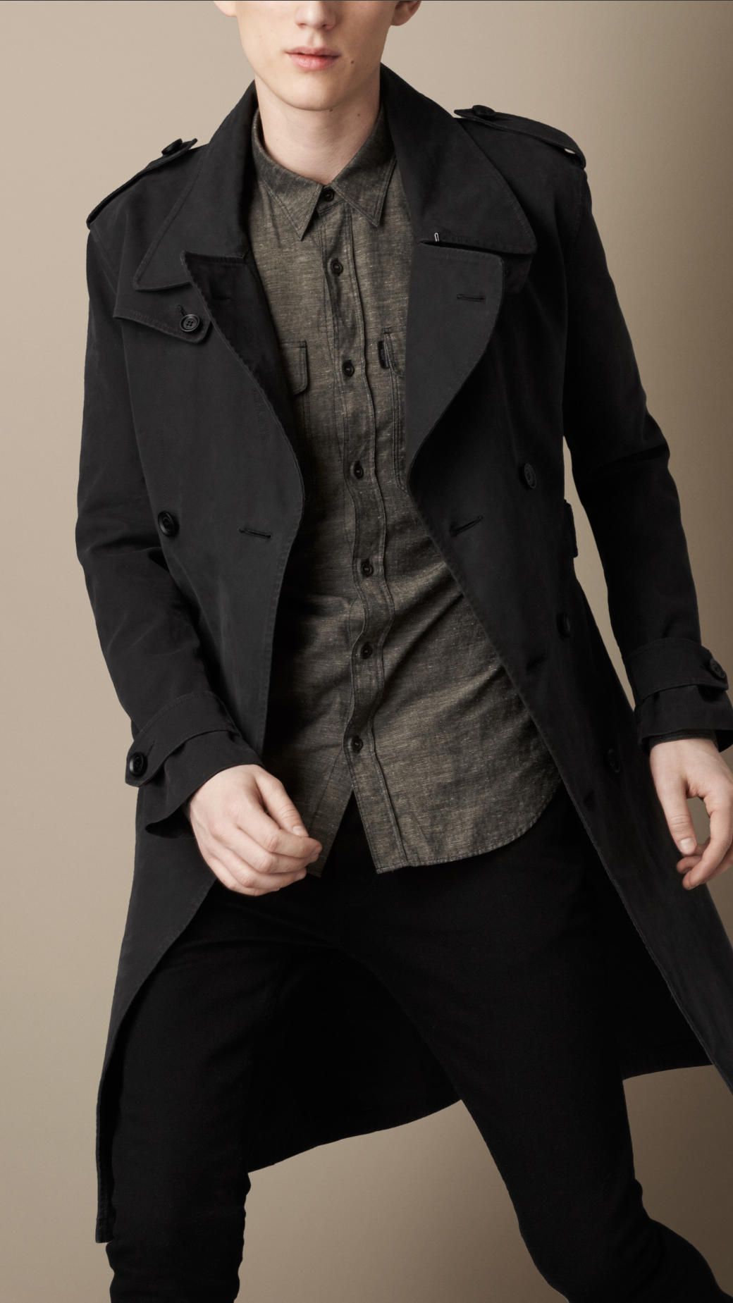 Burberry Long Brushed Cotton Military Trench Coat in Black for Men