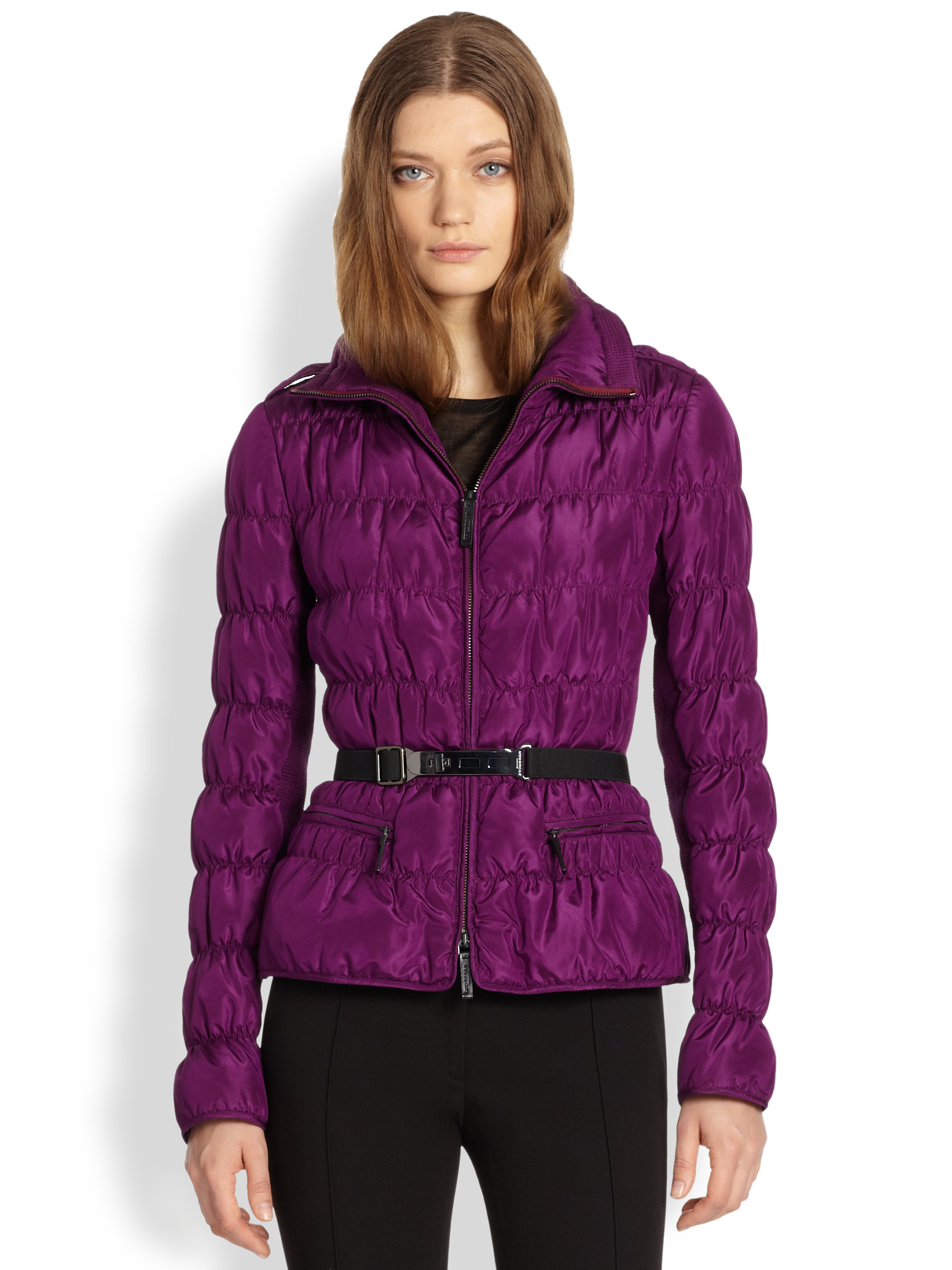 Burberry Ruched Quilted Puffer Coat In Purple Damson