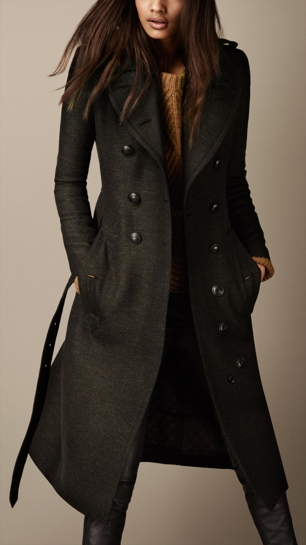 lyst burberry long wool twill trench coat in green. Black Bedroom Furniture Sets. Home Design Ideas