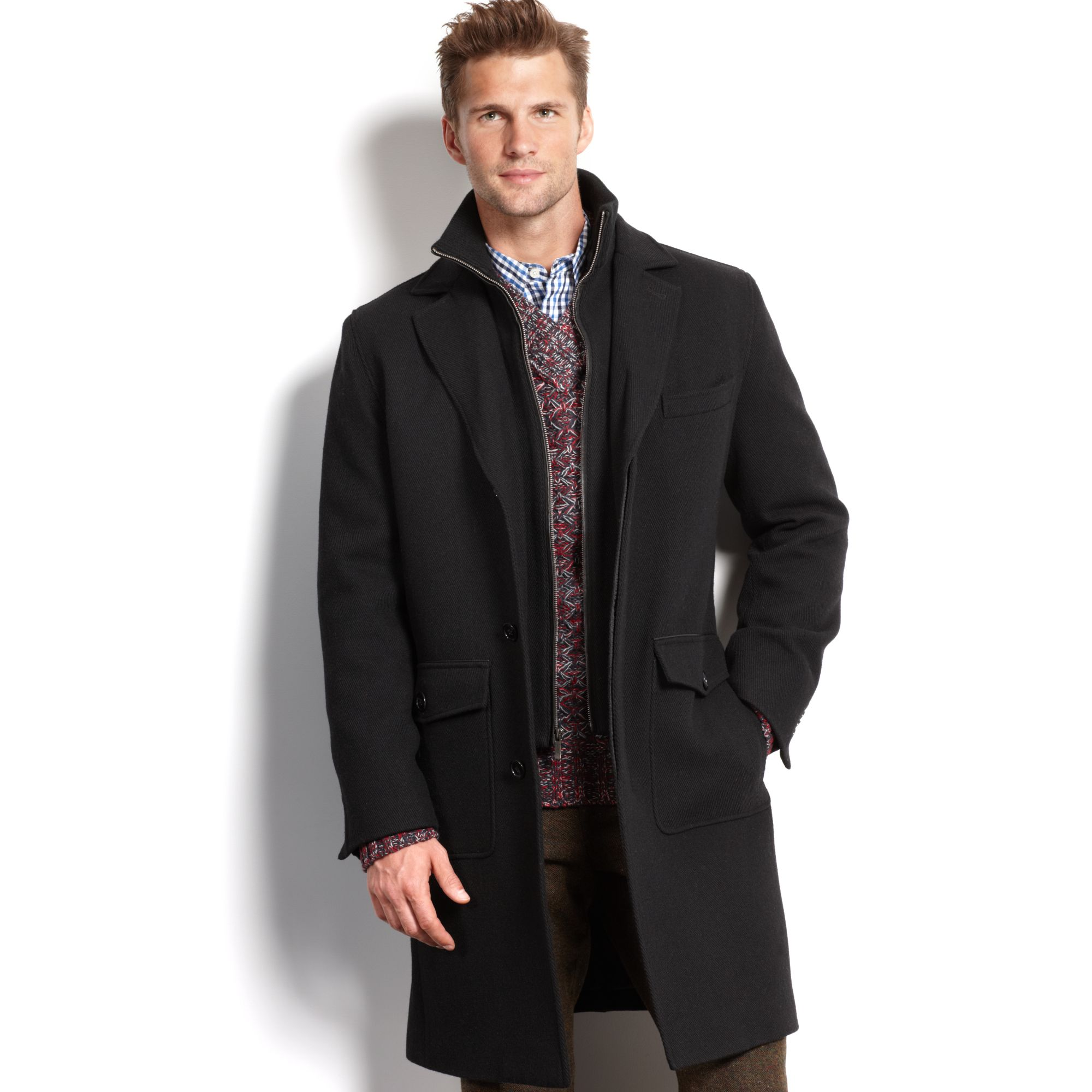 Cole haan Woolblend Twill Car Coat in Black for Men | Lyst