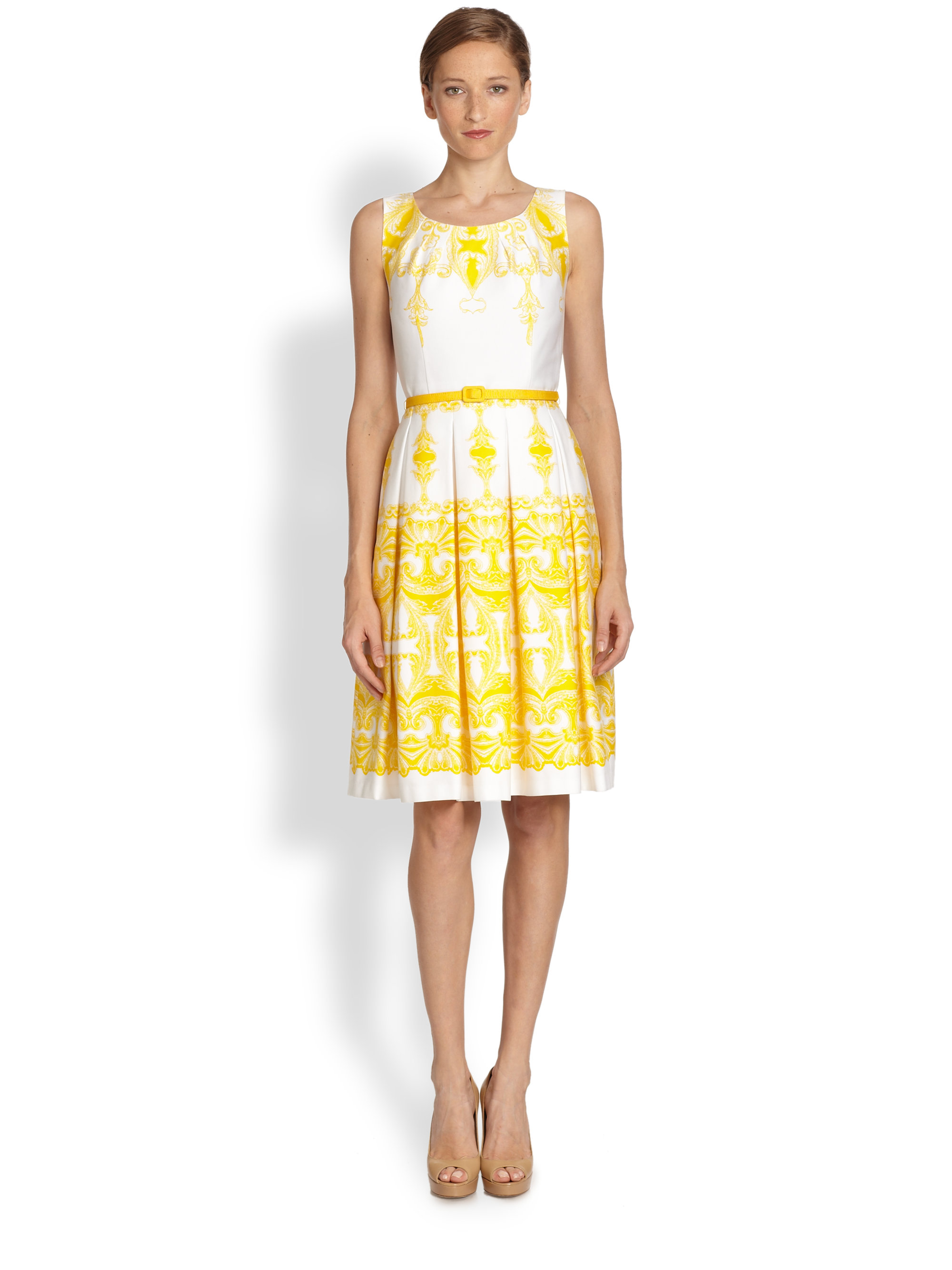 David meister Printed Party Dress in Yellow | Lyst