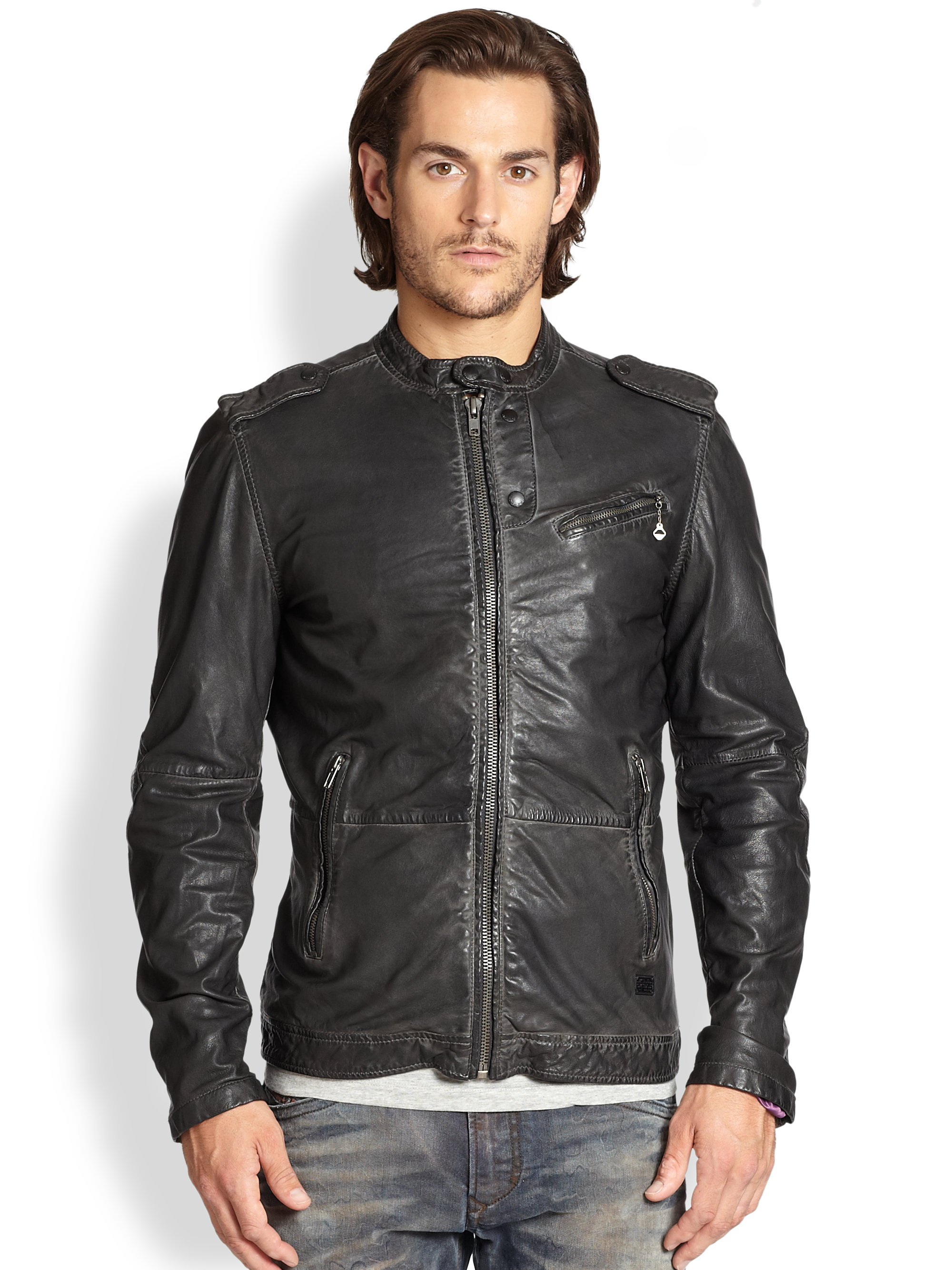 Diesel distressed leather jacket – Modern fashion jacket photo blog