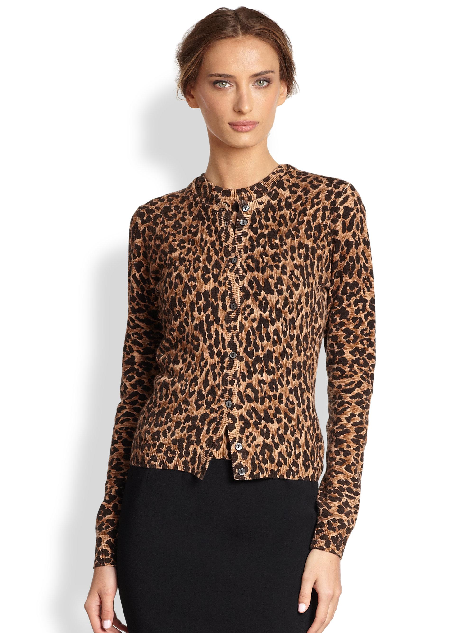 Dolce & gabbana Cashmere Leopard Print Cardigan | Lyst