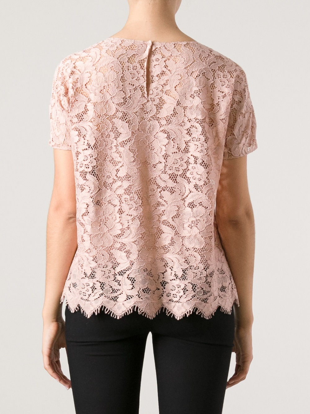 Lyst - Dolce & Gabbana Lace Top in Pink