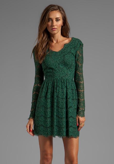 Lyst - Dolce Vita Selene Eyelash Lace Dress in Green in Green