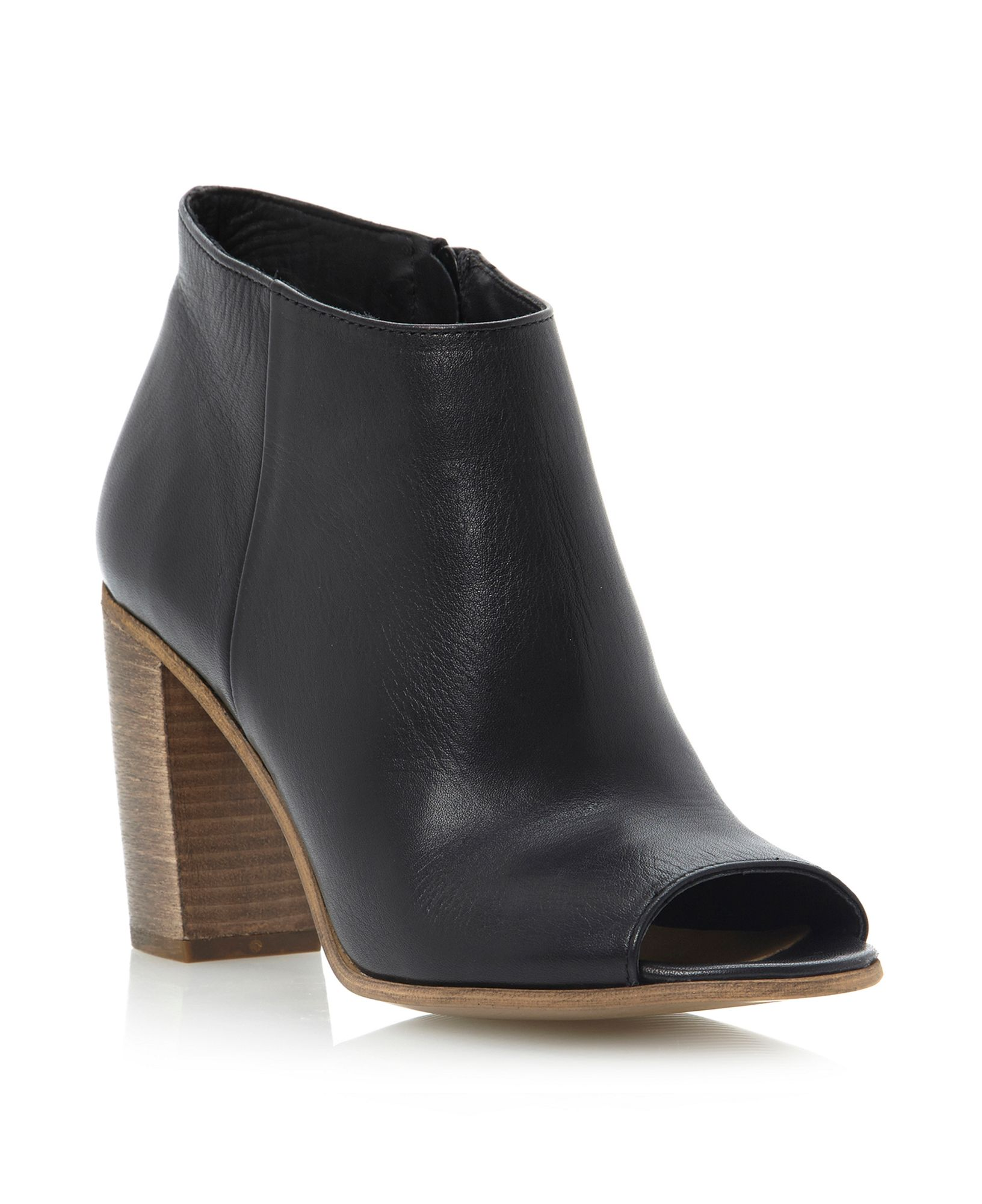 Dune Peek Peep Toe Boots in Black Leather (Black)