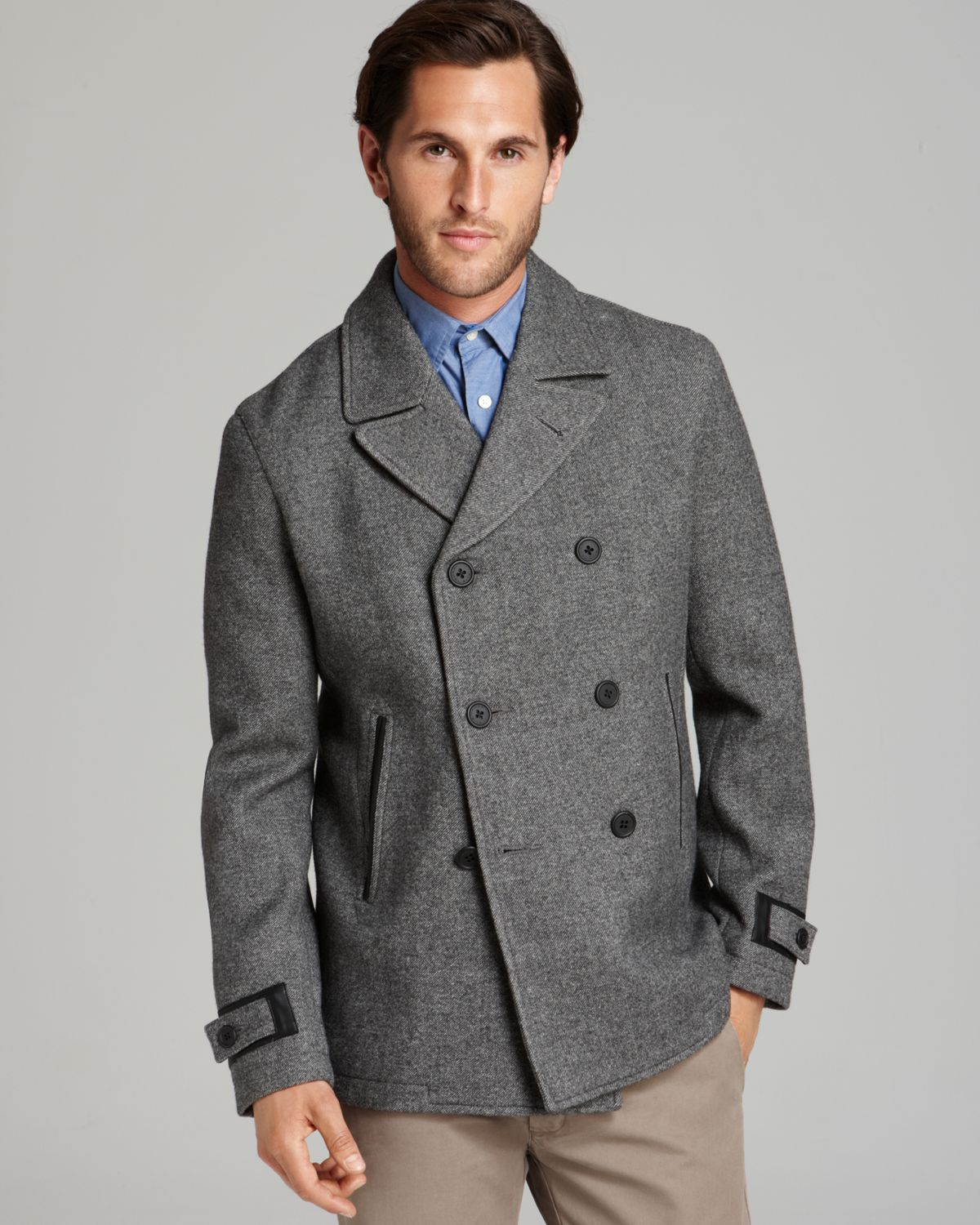 Elie tahari Ben Wool Twill Pea Coat in Gray for Men | Lyst
