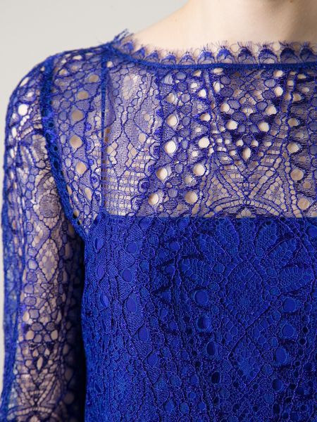 Emilio Pucci Lace Overlay Dress In Blue Pink Amp Purple Lyst
