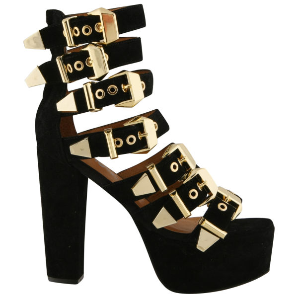 Jeffrey campbell Womens Donata Gold Buckle Heels in Black | Lyst