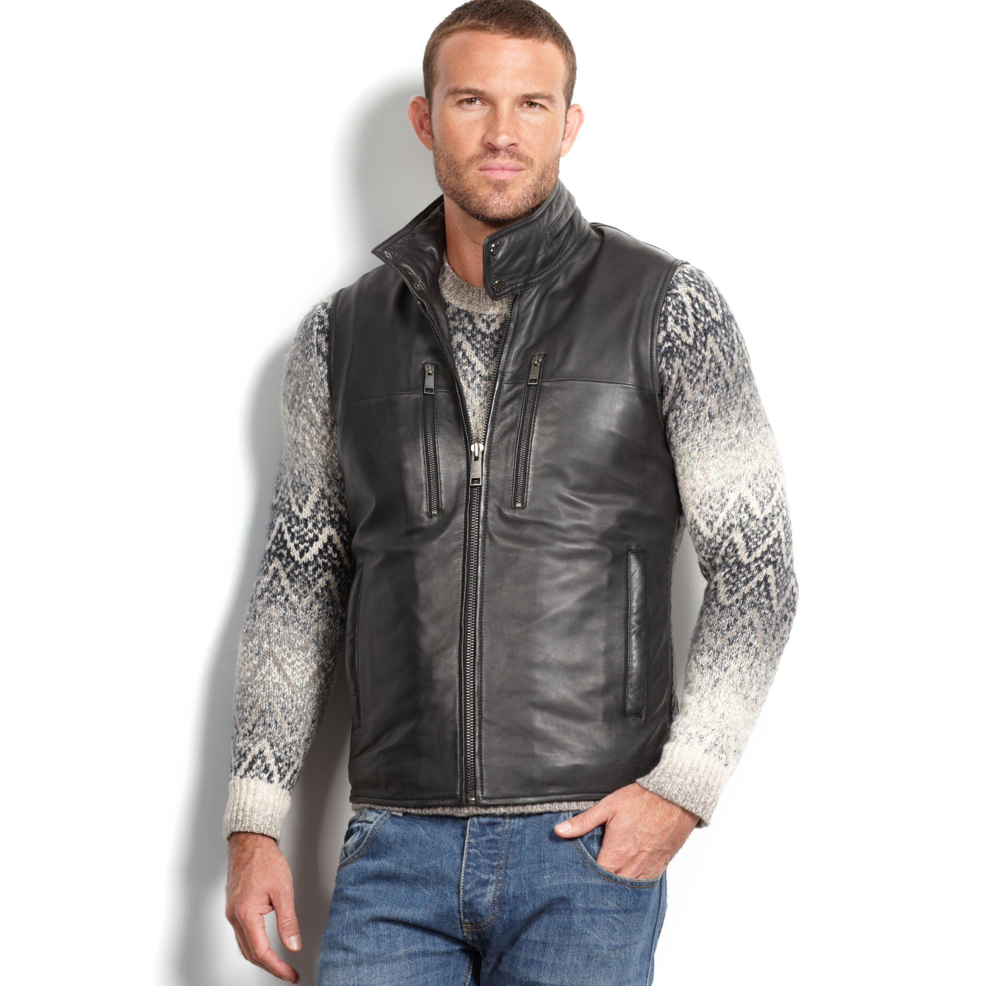 Marc New York Liberty Leather Quilted Vest In Black For Men Lyst